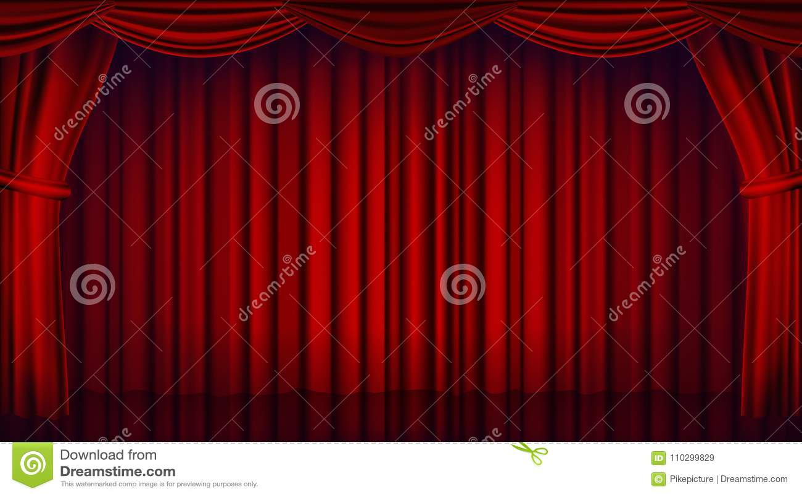 Vecteur Rouge De Rideau En Théâtre Théâtre, Opéra Ou Scène Fermée De ...