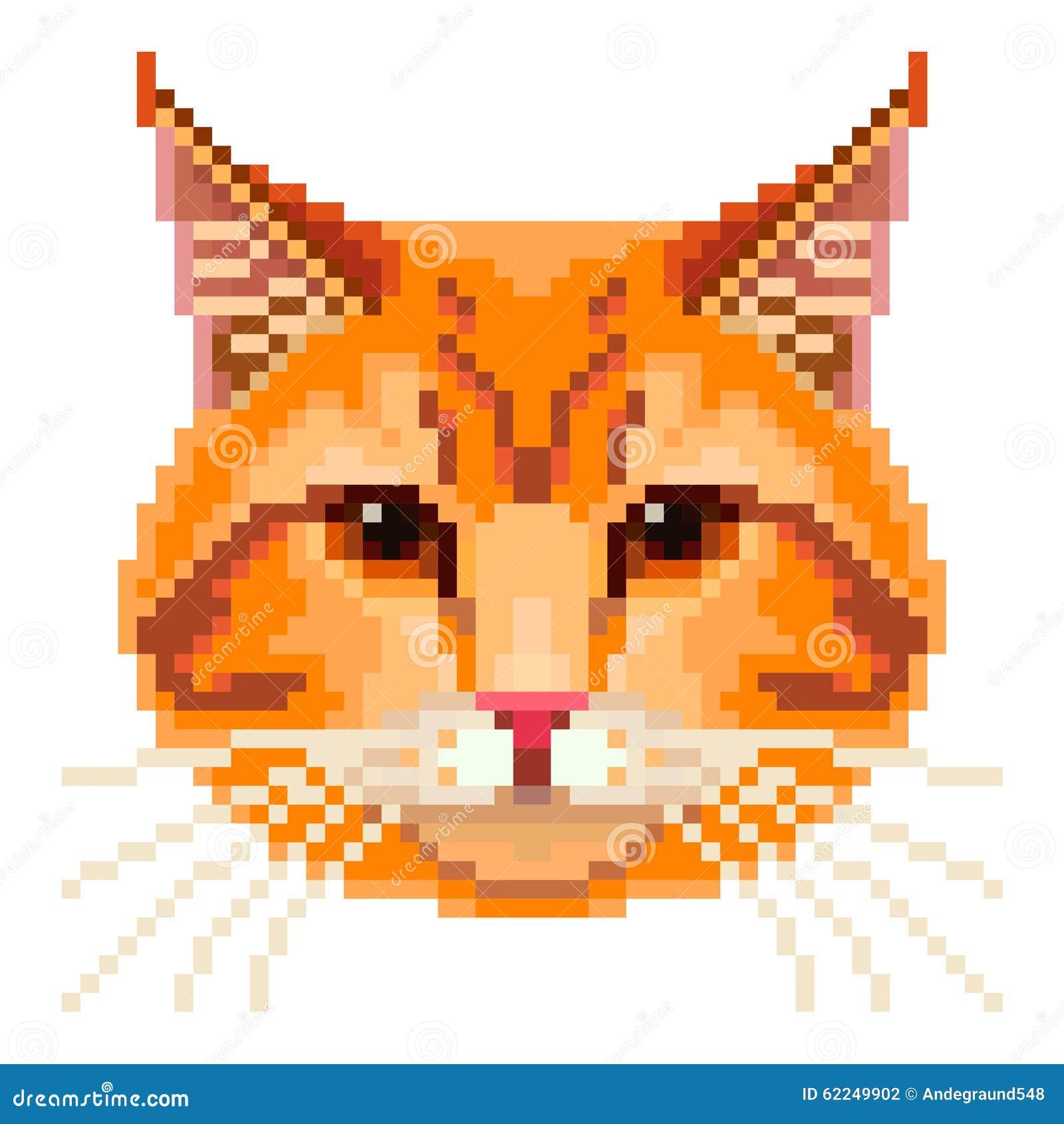 Vecteur Rouge De Visage De Chat De Pixel Illustration De