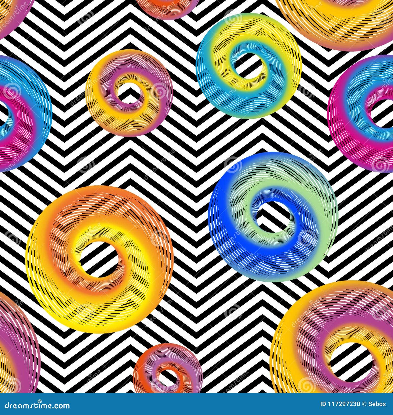 Vecteur sans couture avec la texture colorée abstraite de cercle sur les rayures noires et blanches de zigzag Fond d or de cru