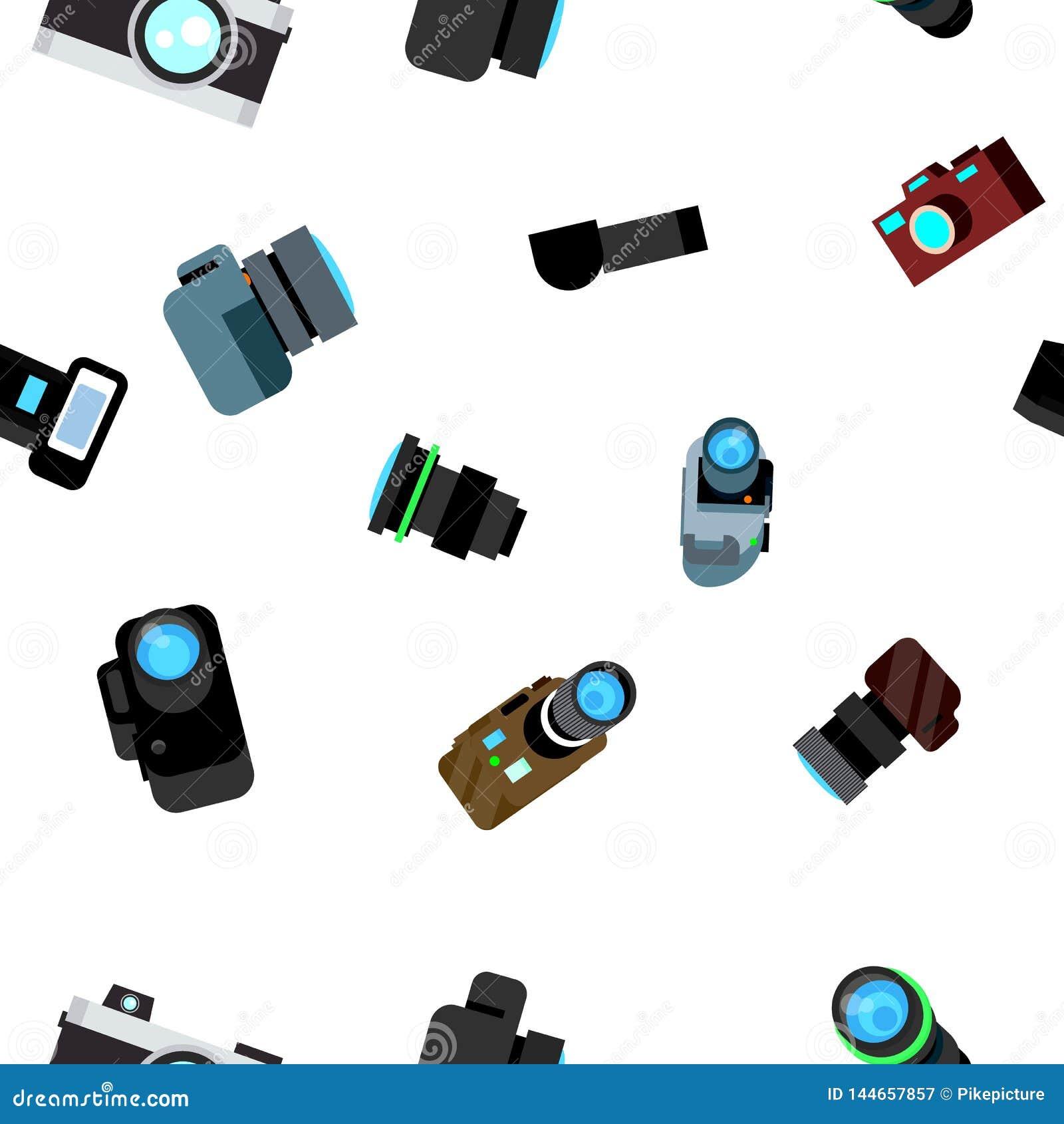 Vecteur sans couture de modèle de caméra de photo Rétro icône de Photocamera Voyage Texture graphique mignonne contexte de textil