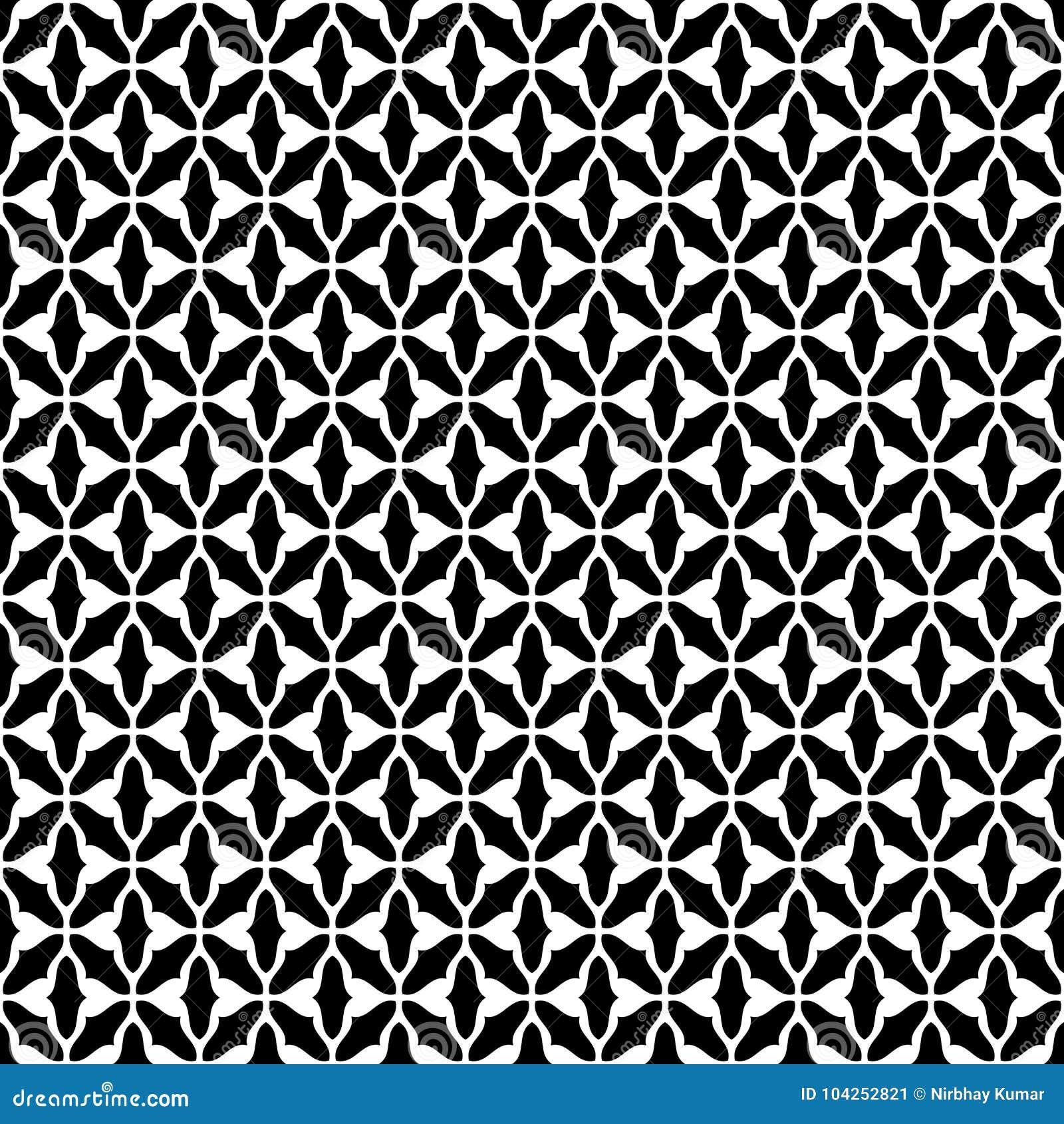 Vecteur sans couture géomagnétique noir et blanc de modèle