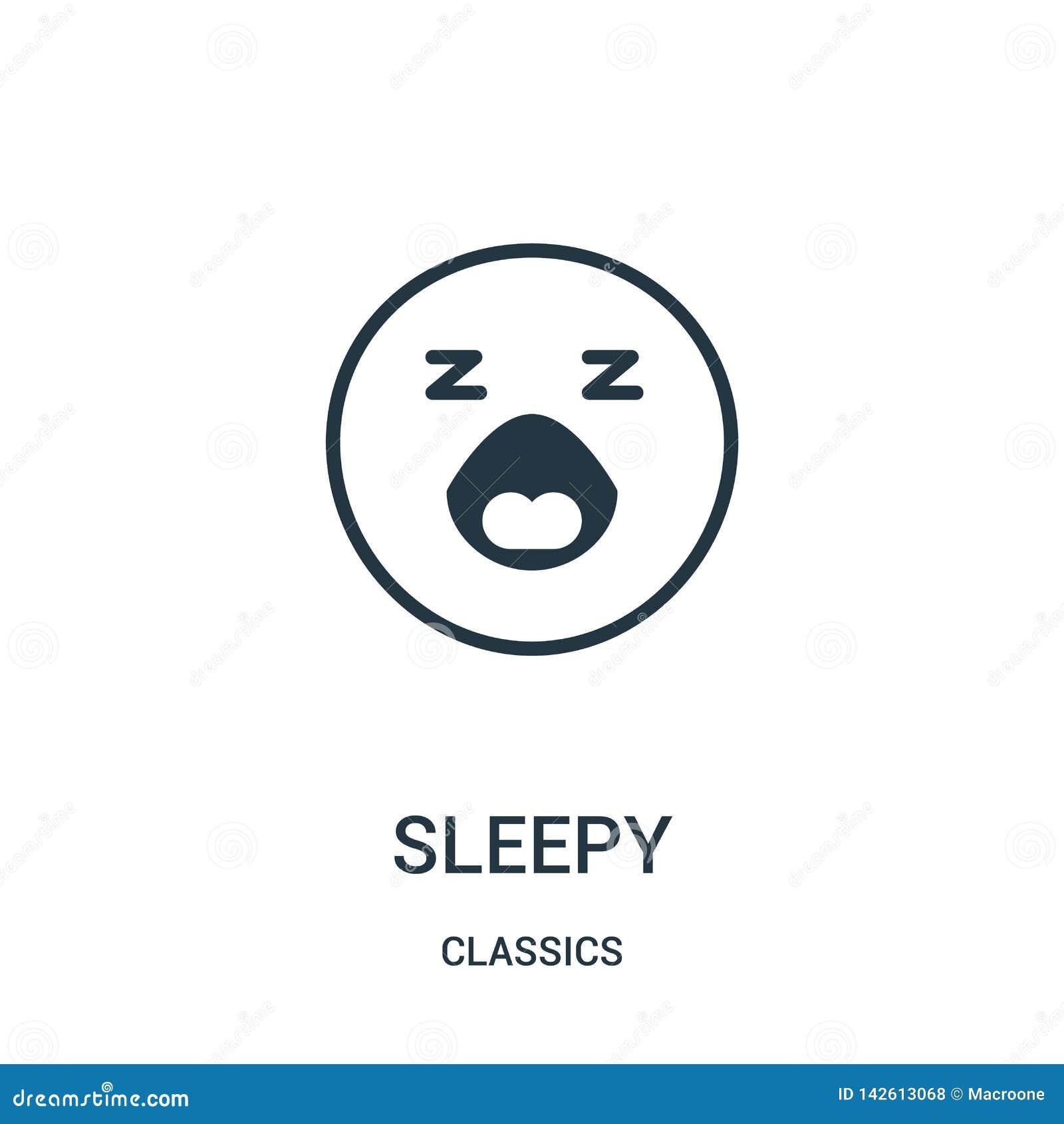 Vecteur somnolent d icône de collection de classiques Ligne mince illustration somnolente de vecteur d ic?ne d ensemble Symbole l