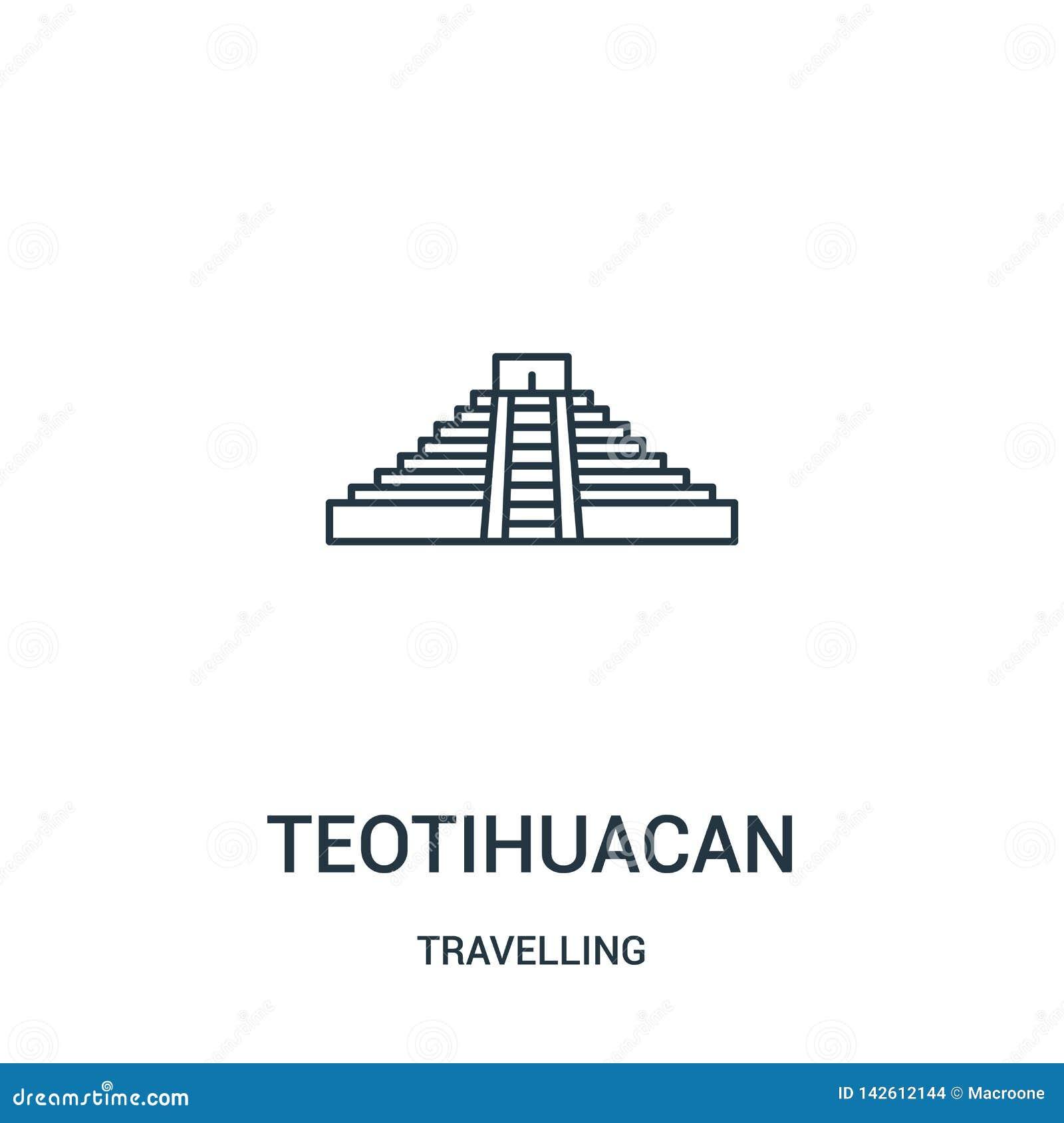 Vecteur teotihuacan d icône de la collection de déplacement Ligne mince illustration teotihuacan de vecteur d icône d ensemble Sy