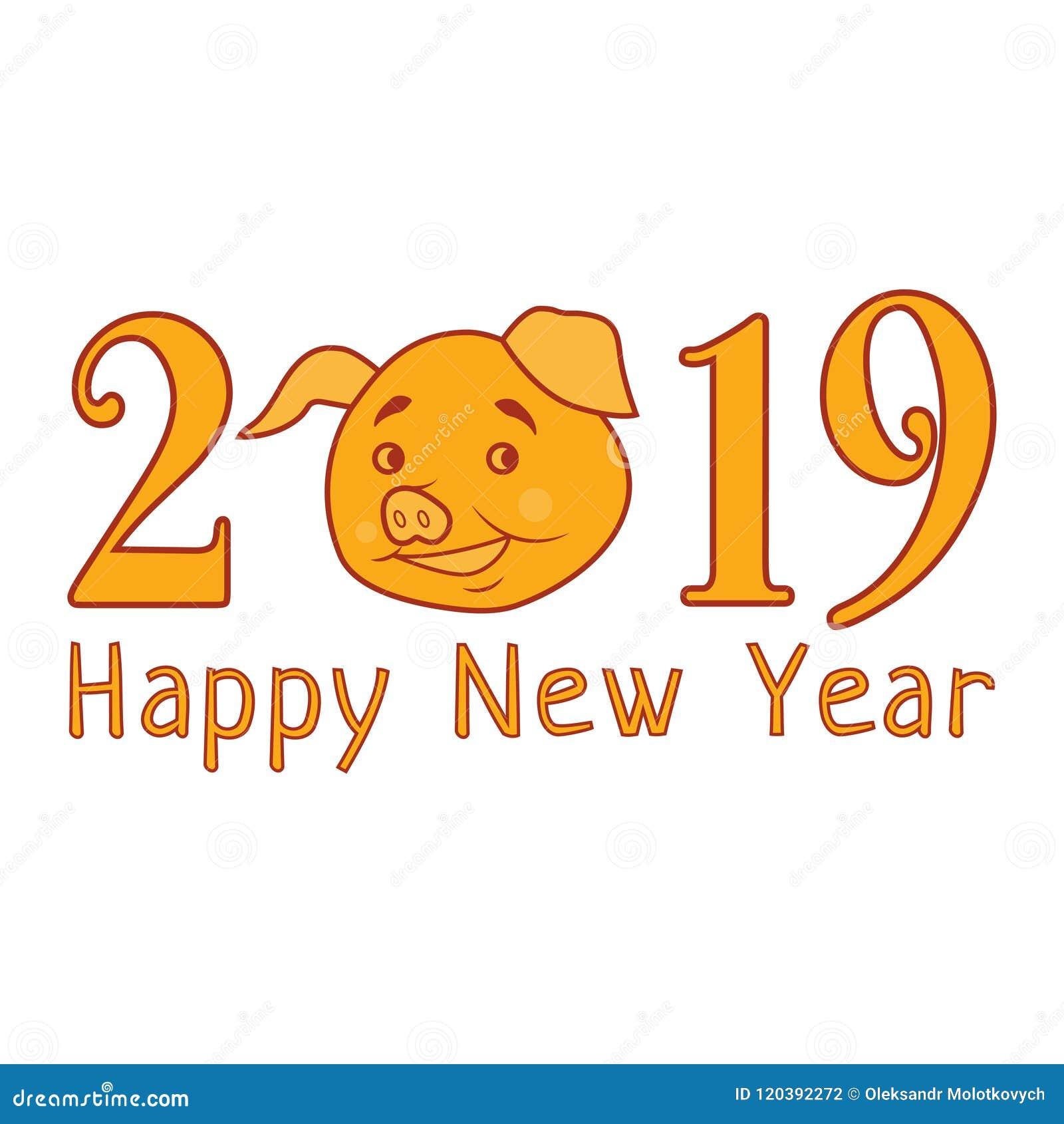 Vecteur Texte De 2019 Bonnes Années Avec Le Porc Drôle