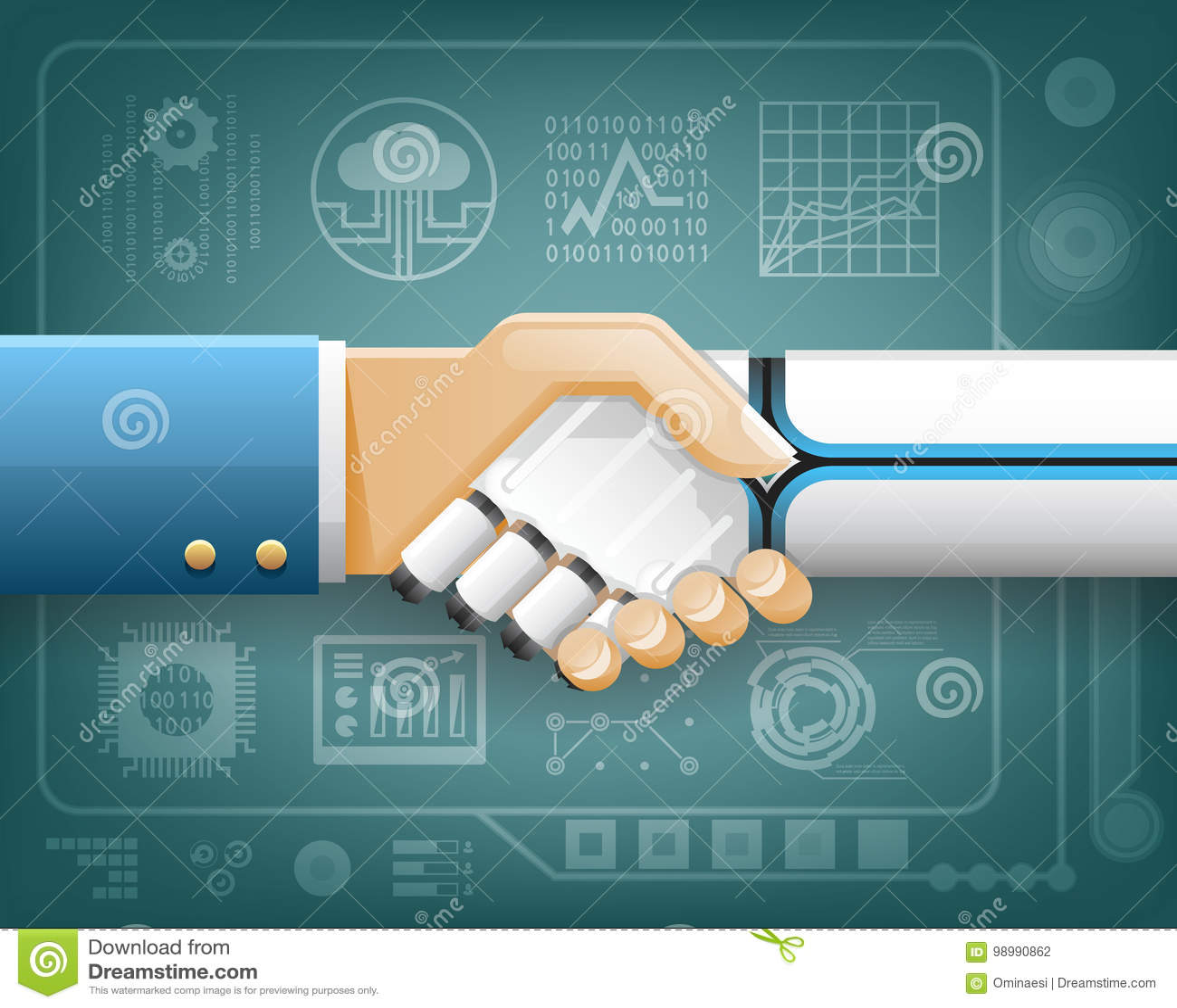 Vecteur transparent de conception de fond de symbole d association de Handshake Innovation Technology d homme d affaires de robot