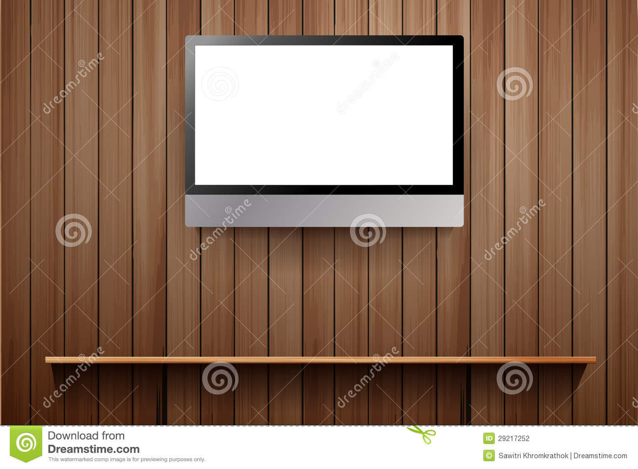 vecteur tv sur le mur en bois photographie stock image. Black Bedroom Furniture Sets. Home Design Ideas