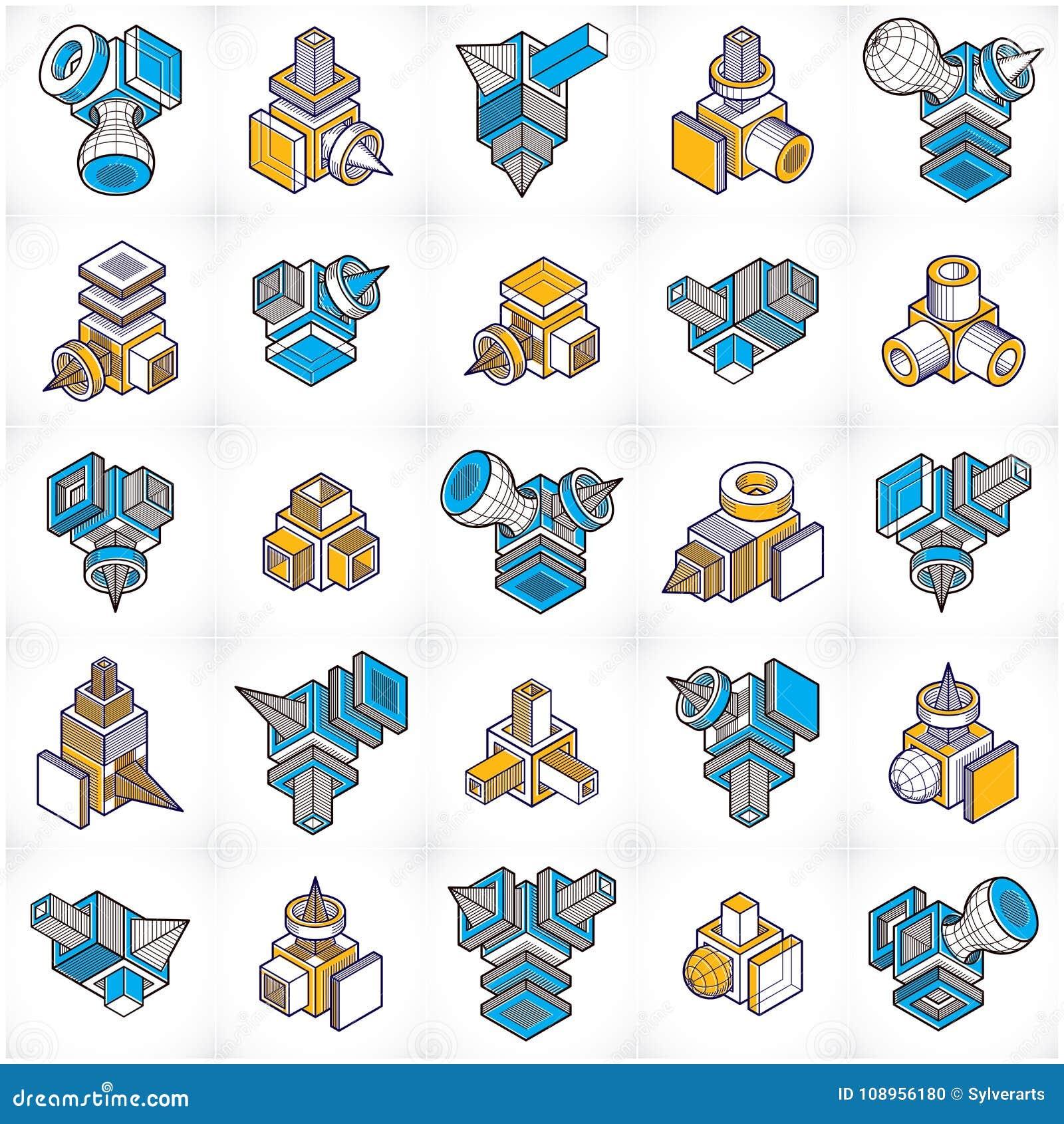 Vecteurs de l ingénierie 3D, collection abstraite de formes