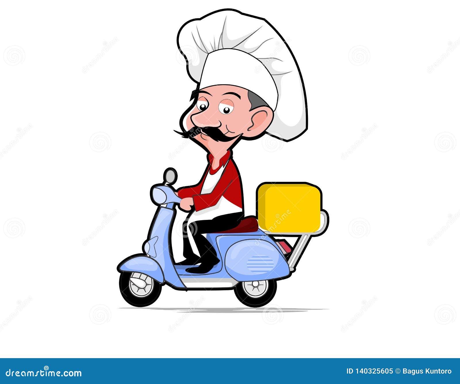 Vecteurs de style de bande dessinée de scooter d équitation de chef