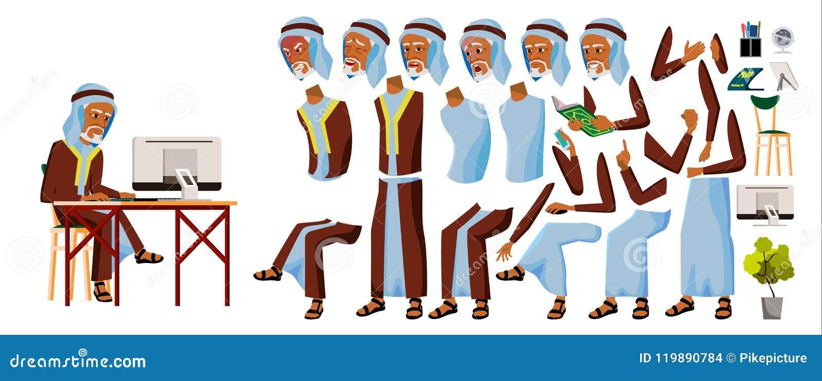 Vector árabe del oficinista del viejo hombre Árabe, musulmán Sistema de la animación del negocio Emociones faciales, gestos Hombr