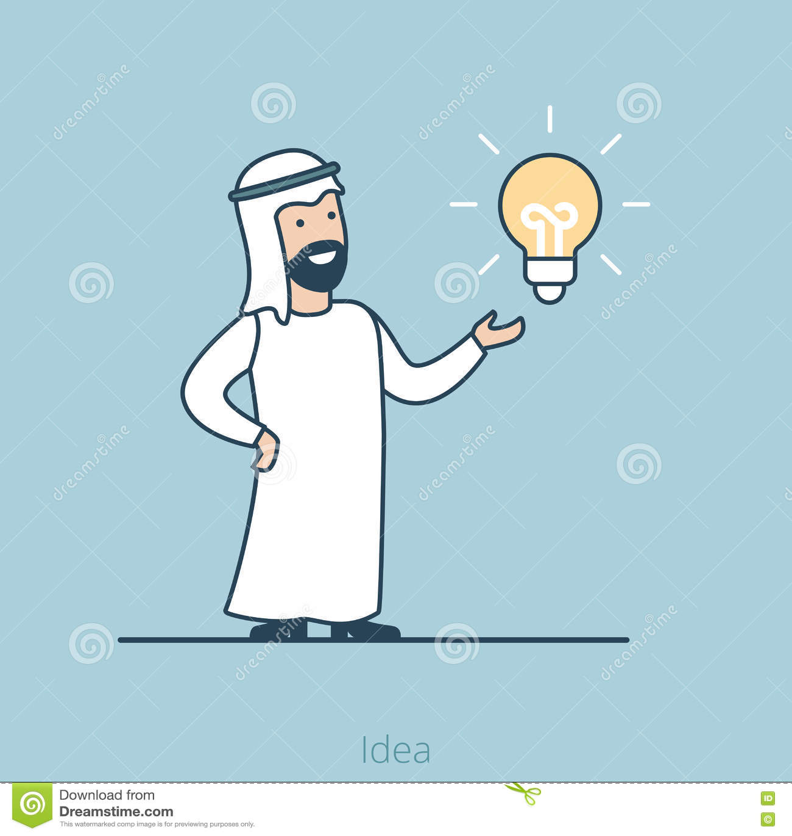 Vector árabe plano linear i de la lámpara del hombre de la idea del negocio