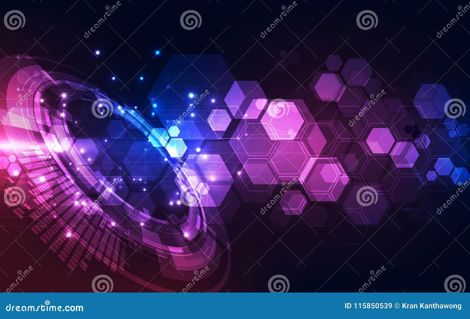 Vector абстрактная футуристическая высокая предпосылка цвета цифровой технологии голубая, сеть иллюстрации