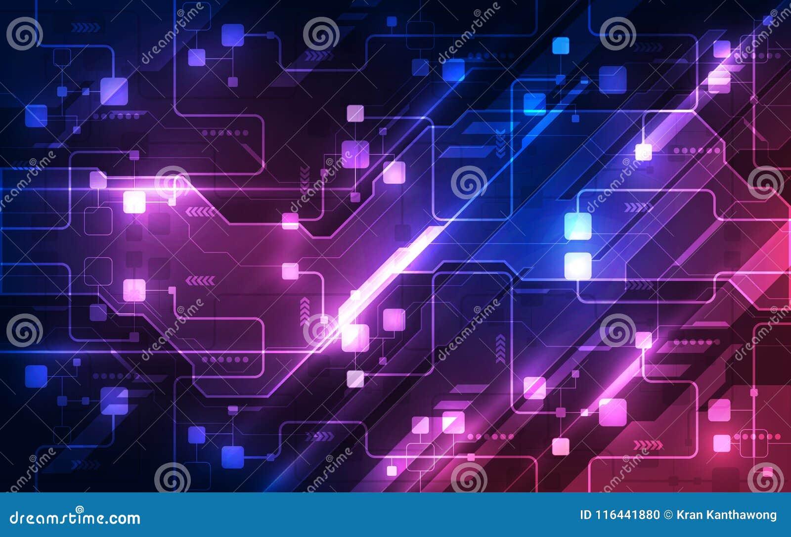 Vector абстрактная футуристическая монтажная плата, цвет сини цифровой технологии иллюстрации высокий