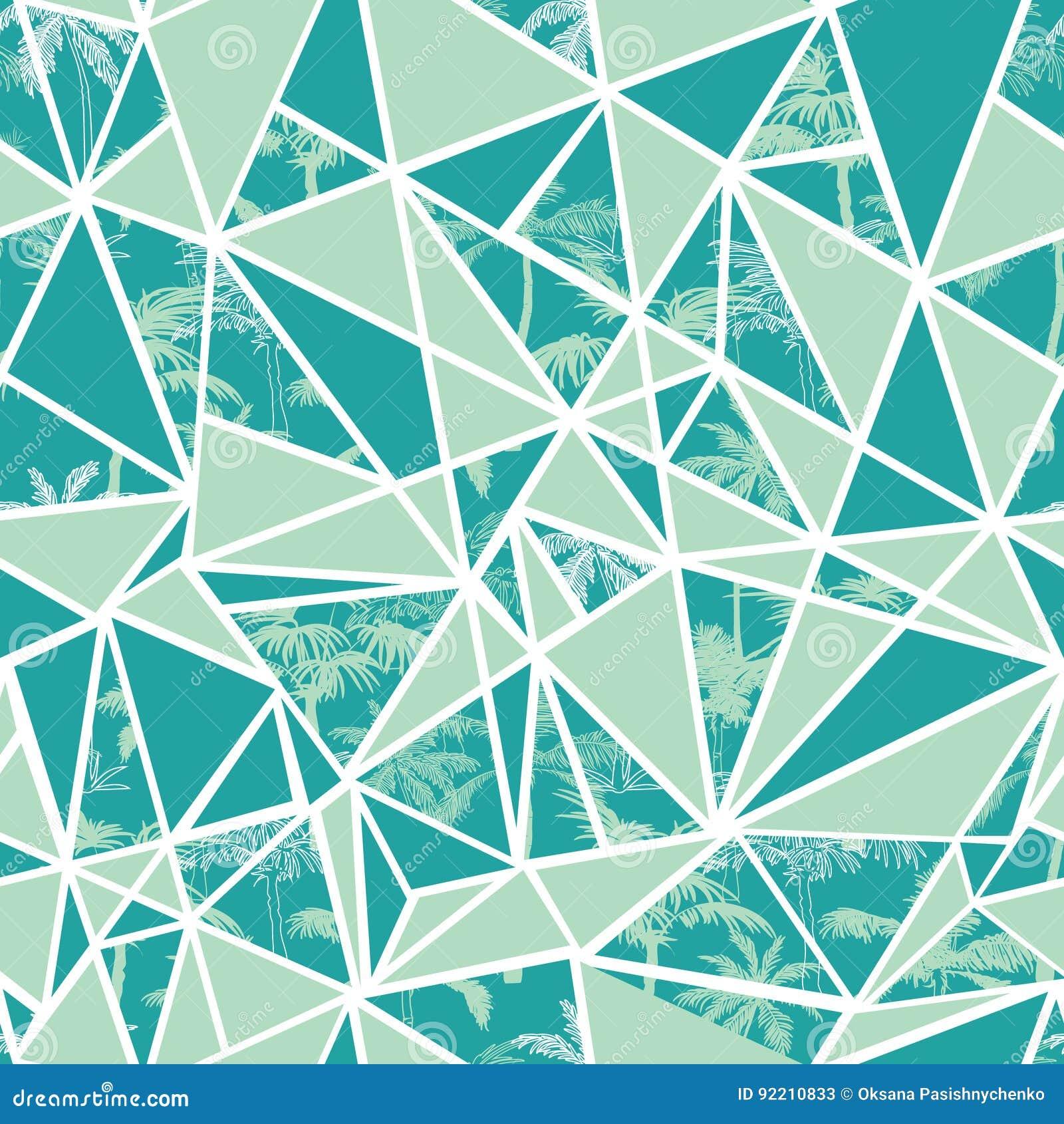 Vector абстрактные тропические пальмы и дизайн картины повторения треугольников безшовный Большой для современной ткани, обоев