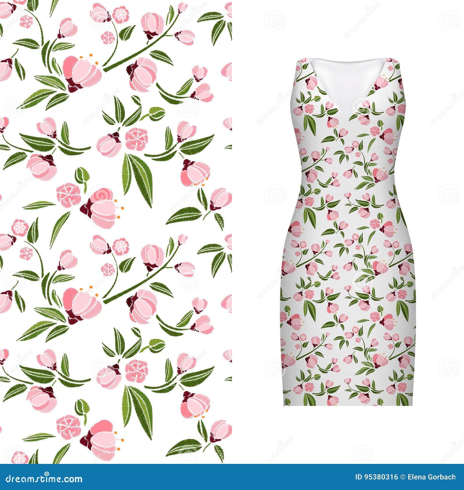 Vector безшовная вышивка, цветочный узор листьев и поднял на классический модель-макет платья ` s женщин также вектор иллюстрации