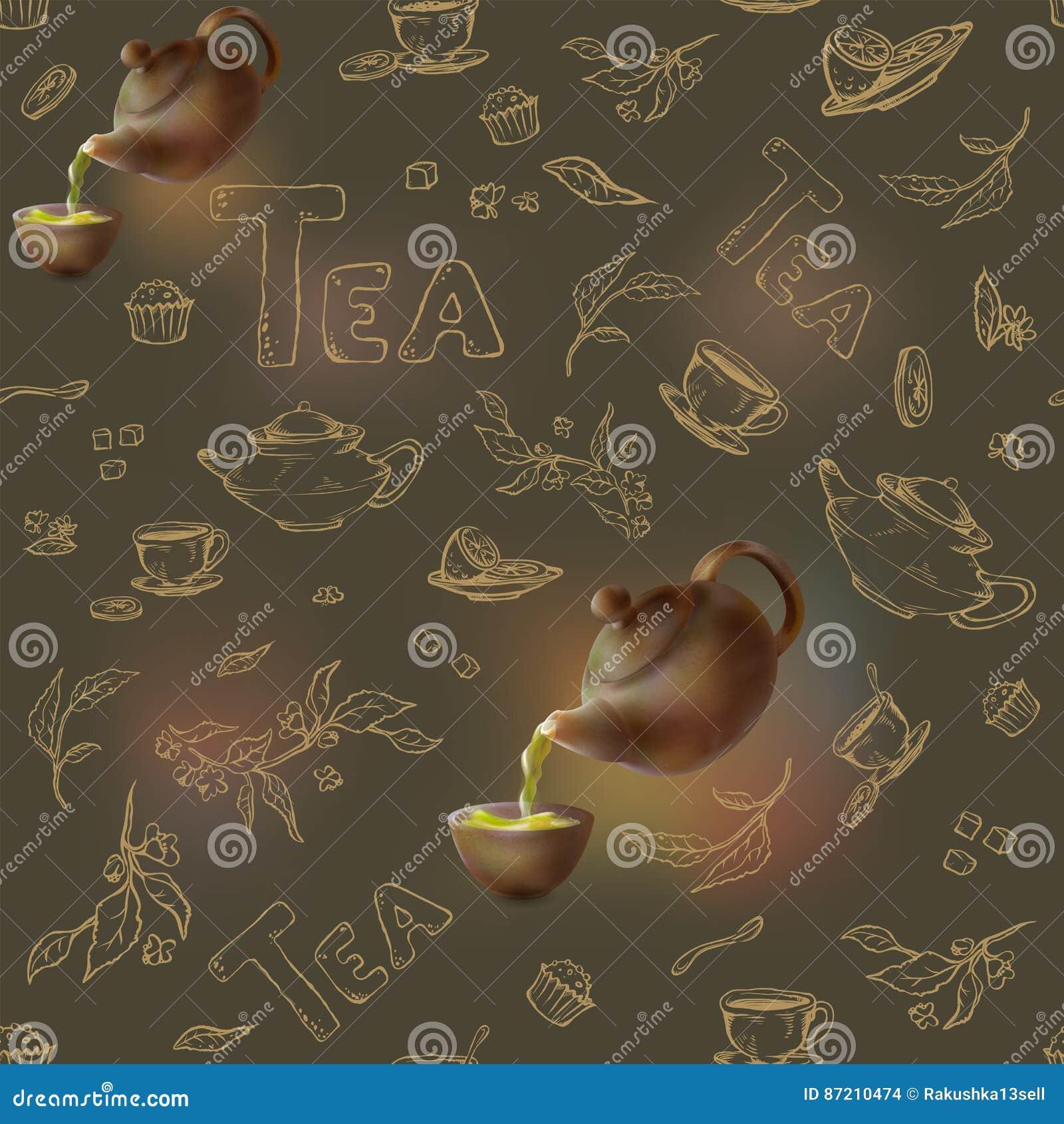 Vector безшовная картина на темном эскизе золота предпосылки деталей для чаепития чайник 3d и чашка, конфета, лимон