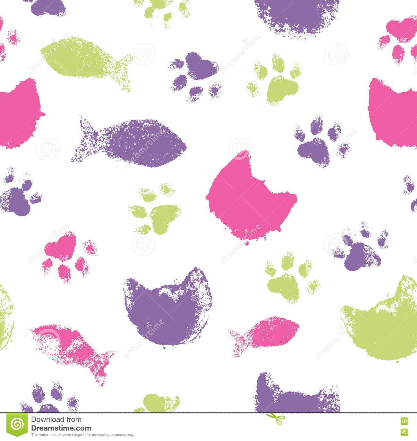 Download Vector безшовная картина с следами ноги лапки, намордниками кота и рыбами Иллюстрация вектора - иллюстрации насчитывающей magenta, лапка: 72294663
