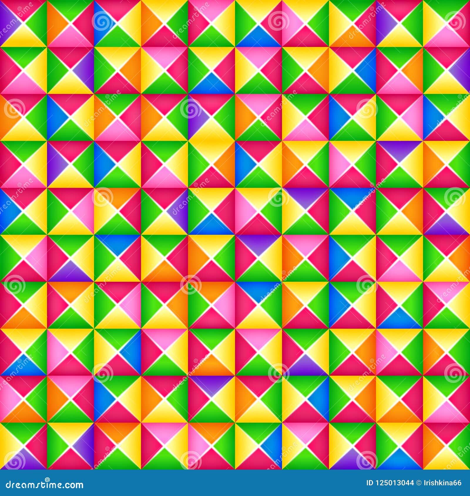 Vector безшовная красочная геометрическая картина 3d от квадратных блоков Стиль Origami