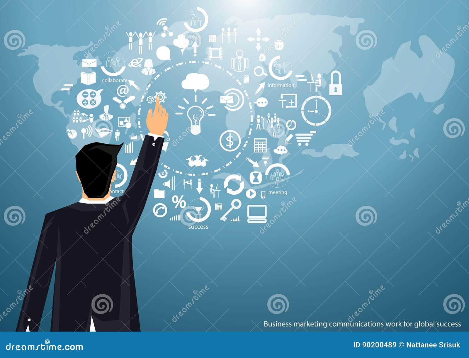 Vector бизнесмен маркетинга работая по всему миру для того чтобы связывать успешно с дизайном значка карты мира плоским