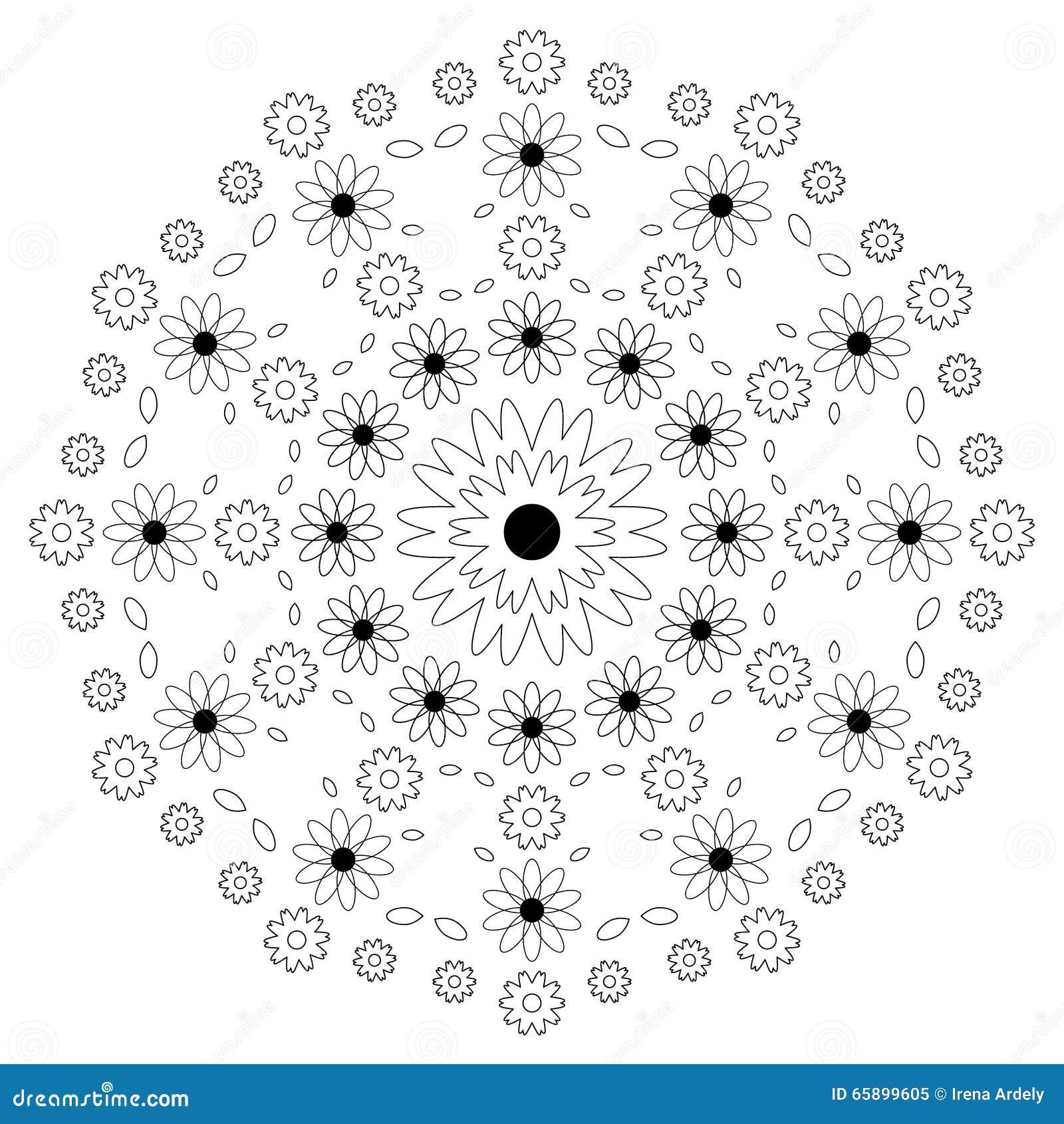 Vector взрослые цветки мандалы картины книжка раскраски