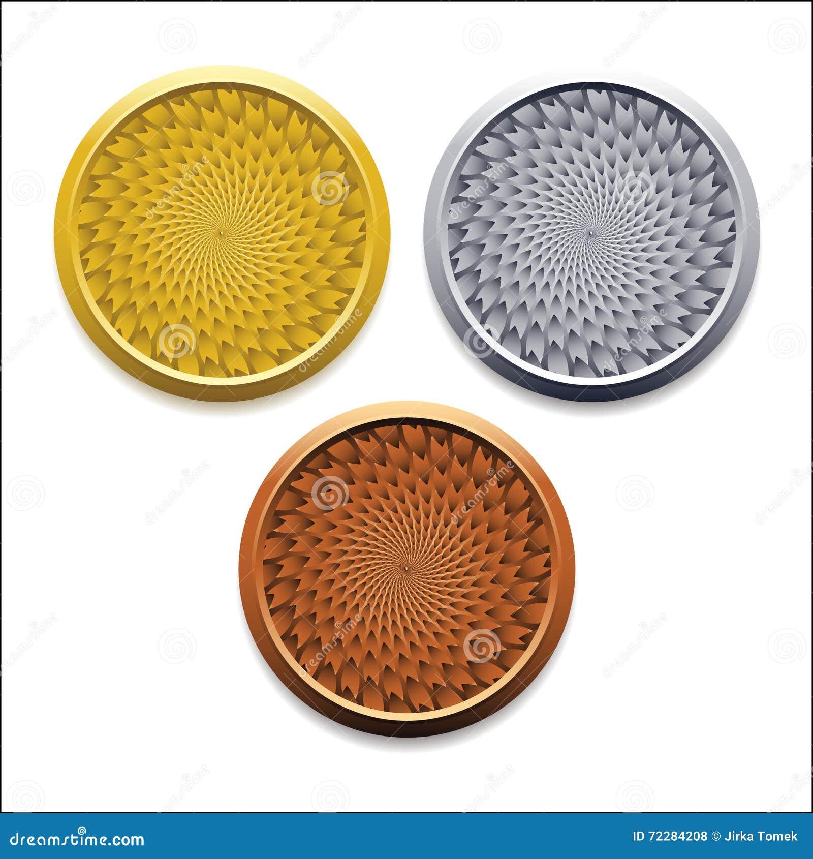 Download Vector вокруг пустых медалей бронзы серебра золота Иллюстрация вектора - иллюстрации насчитывающей медали, монетка: 72284208