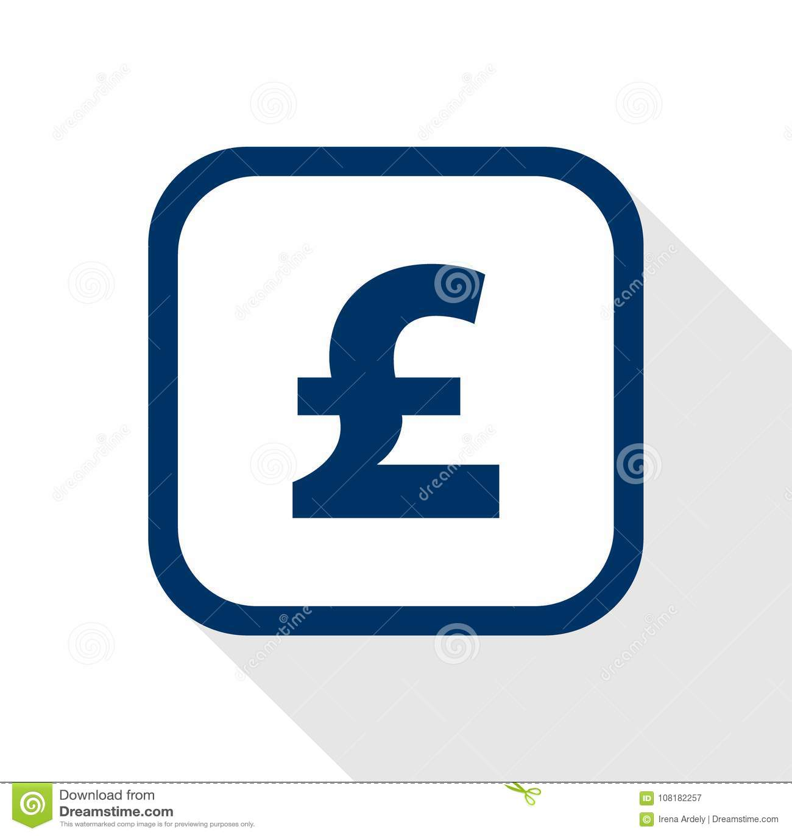 Vector голубой фунт значка с округленными углами и длинная тень - валюта символа Великобритании в плоском дизайне