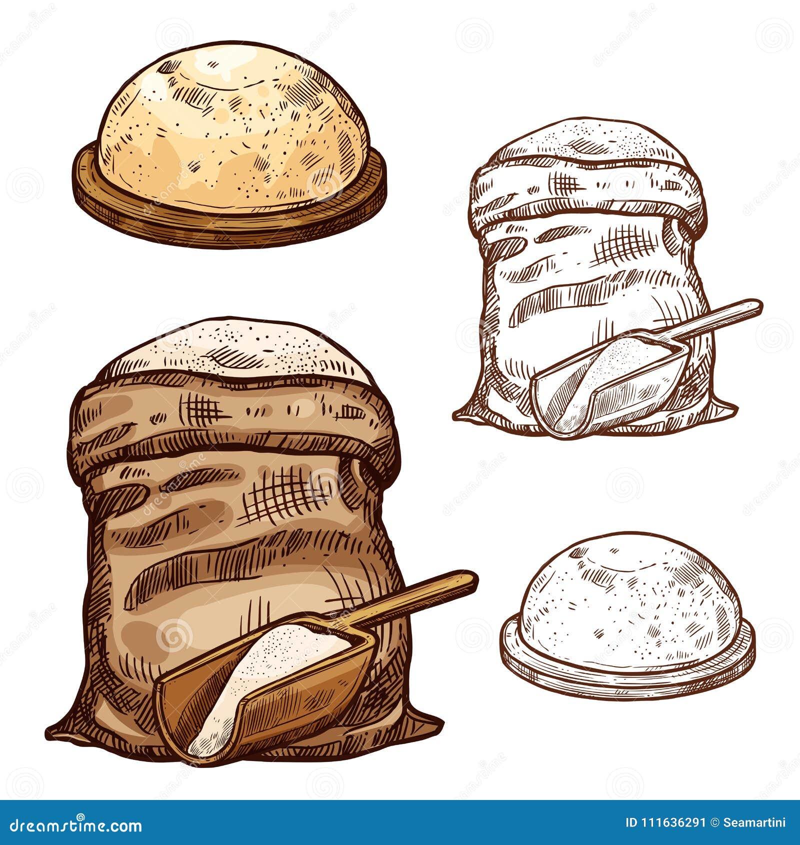 Vector значки эскиза сумки и хлеба муки выпечки