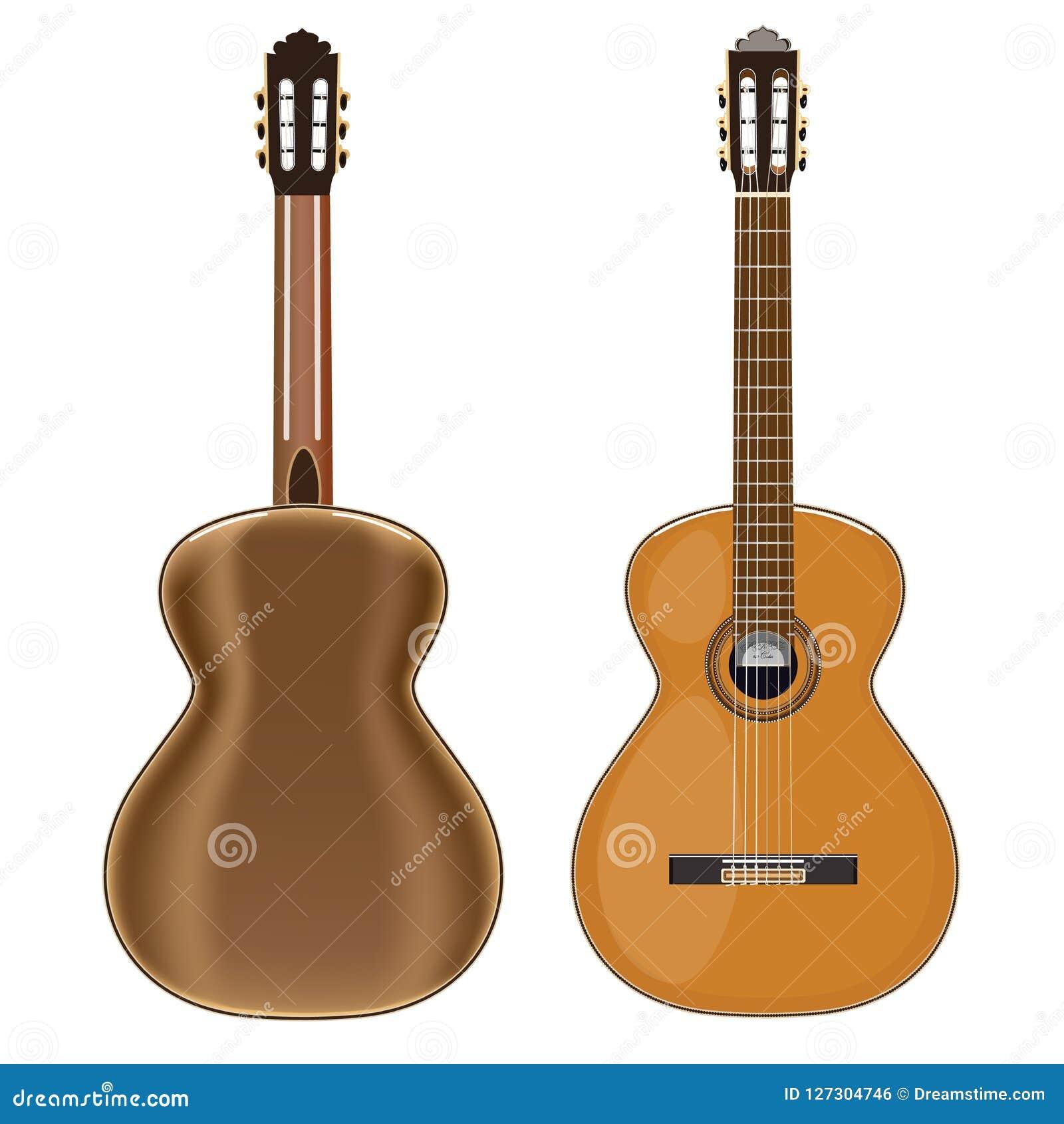 Vector иллюстрация классической гитары, противостойте и задний взгляд