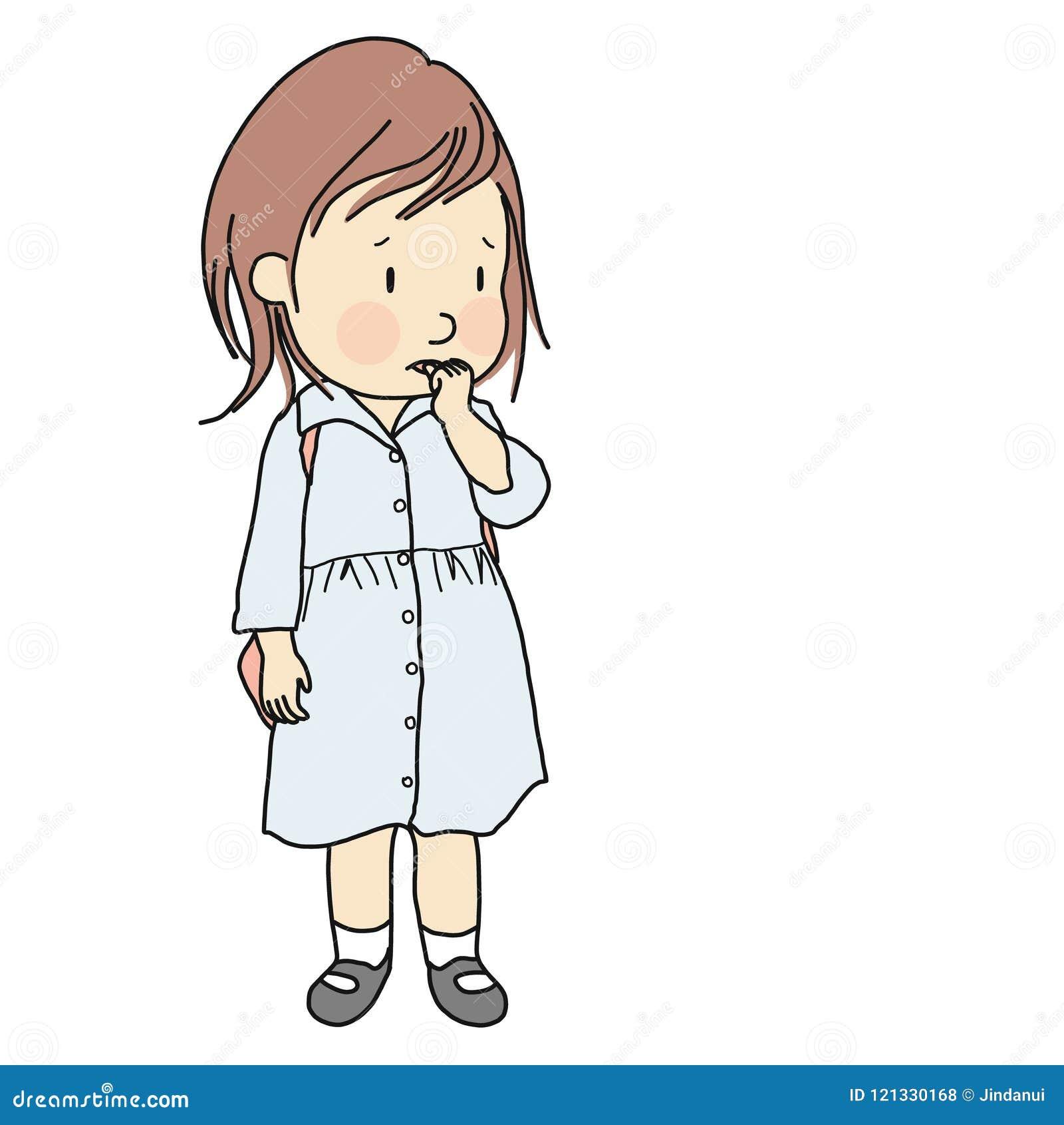 Vector иллюстрация маленького ребенка сдерживая ее ноготь для того чтобы сбросить тревожность, одиночество, стресс развитие детст