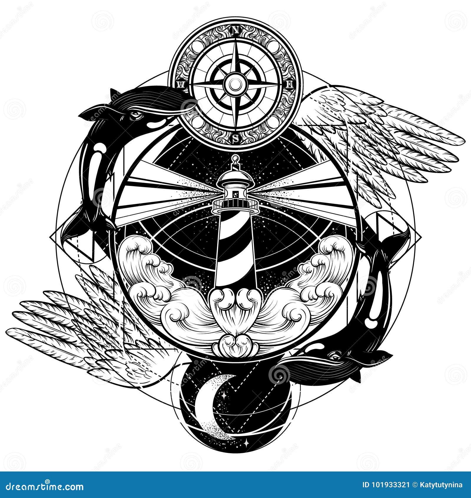 Vector иллюстрация нарисованная рукой маяка с лучами, волнами, крылами, китами и винтажным компасом