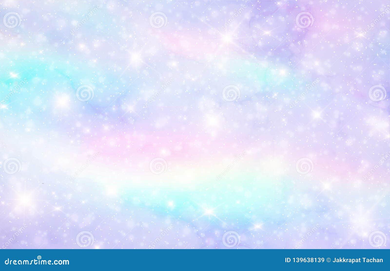 Vector иллюстрация предпосылки и пастельного цвета фантазии галактики Единорог в пастельном небе с радугой Пастельные облака и wi