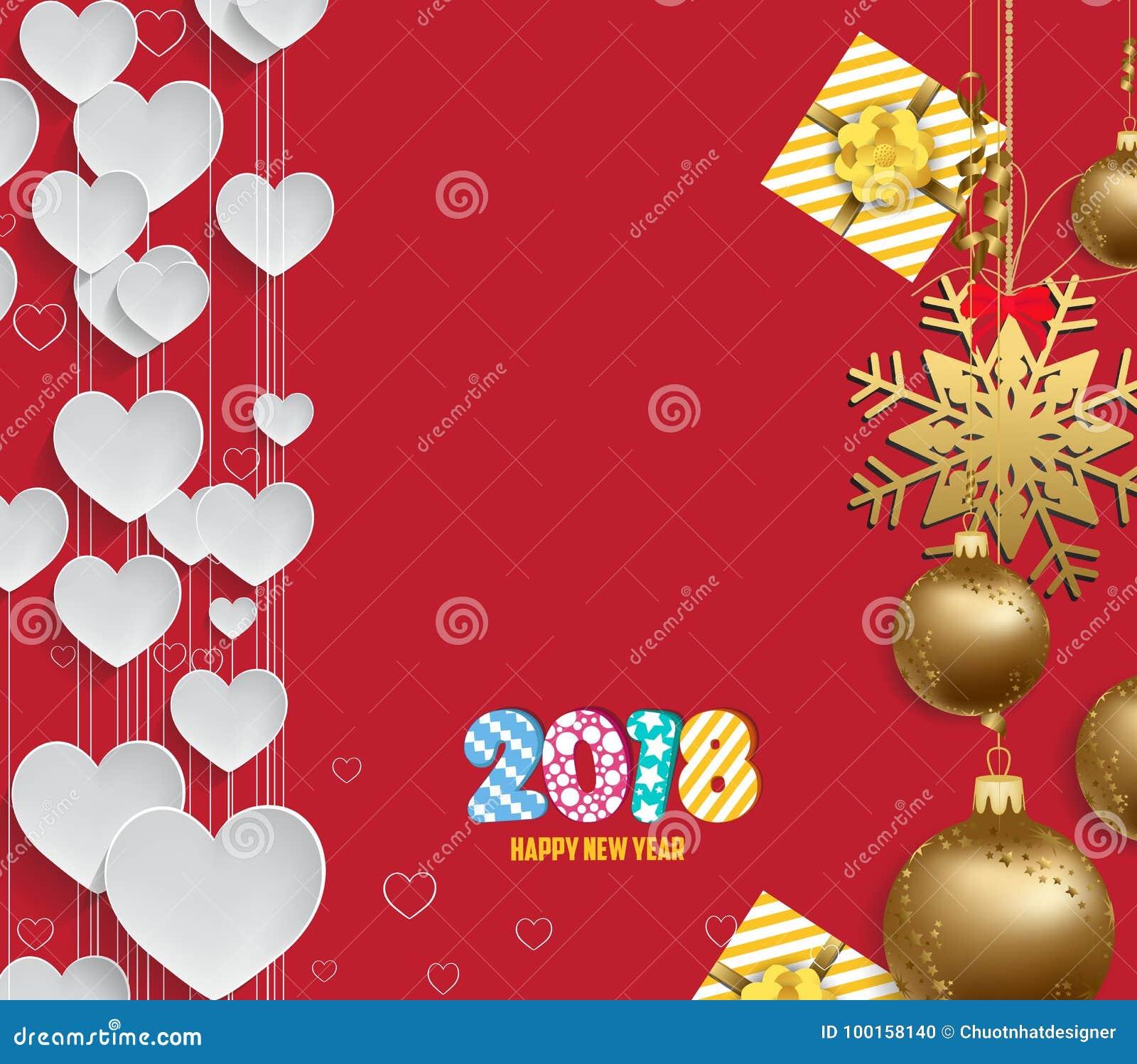 Vector иллюстрация предпосылки 2018 сердца рождества с золотом шариков рождества