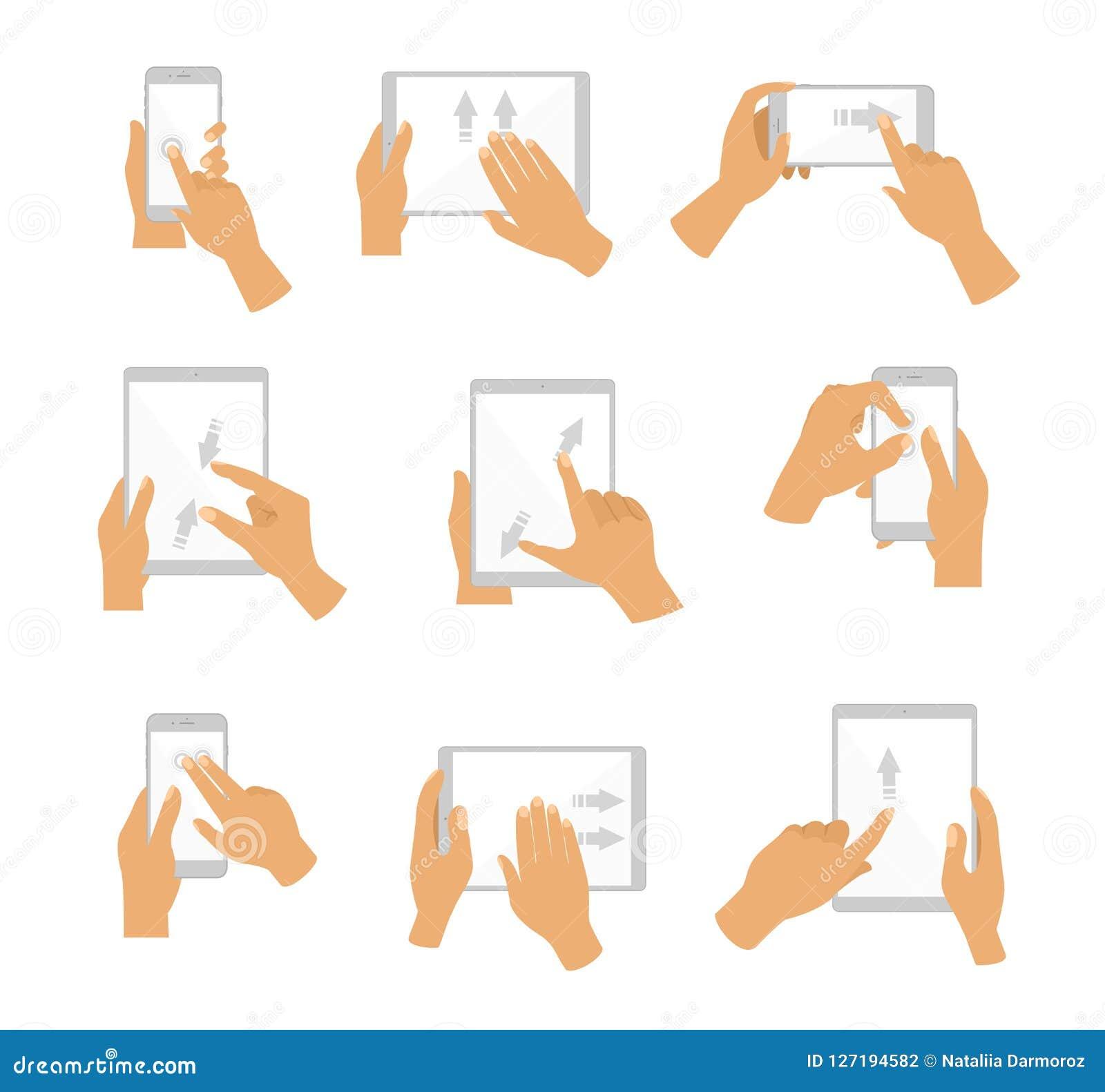 Vector иллюстрация собрания жеста рукой для экрана касания Экран касания устройств, плоский дизайн пальцев