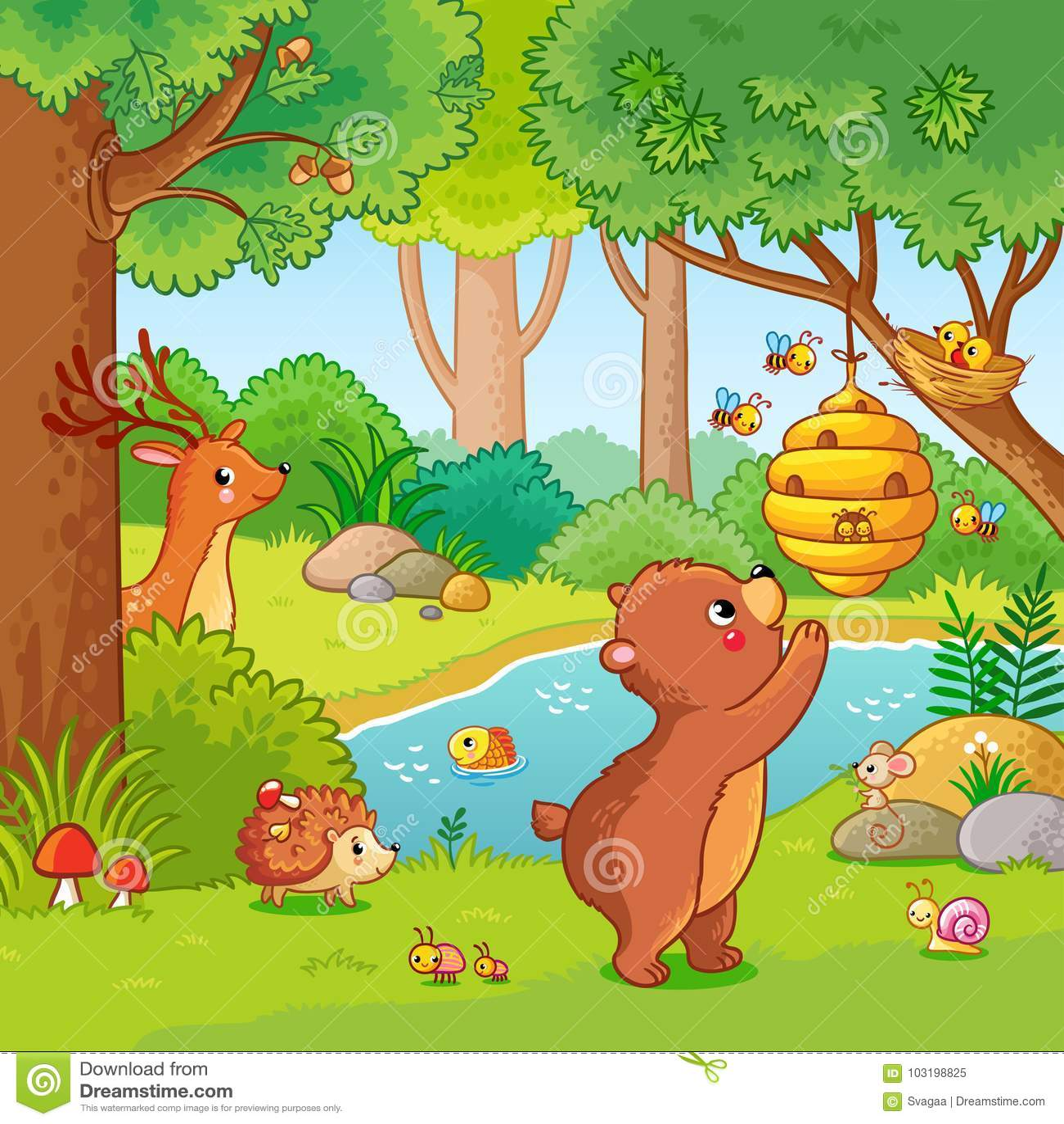Vector иллюстрация с медведем который хочет мед