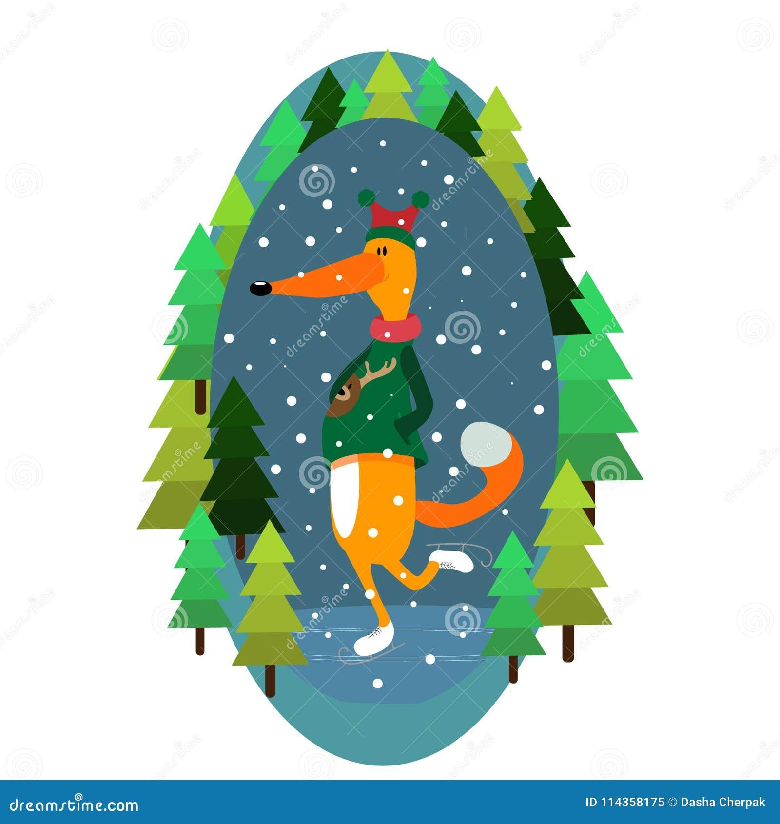 Vector иллюстрация цвета изображения леса коньков снега Нового Года рождества зимы иллюстрации лисы жизнерадостная