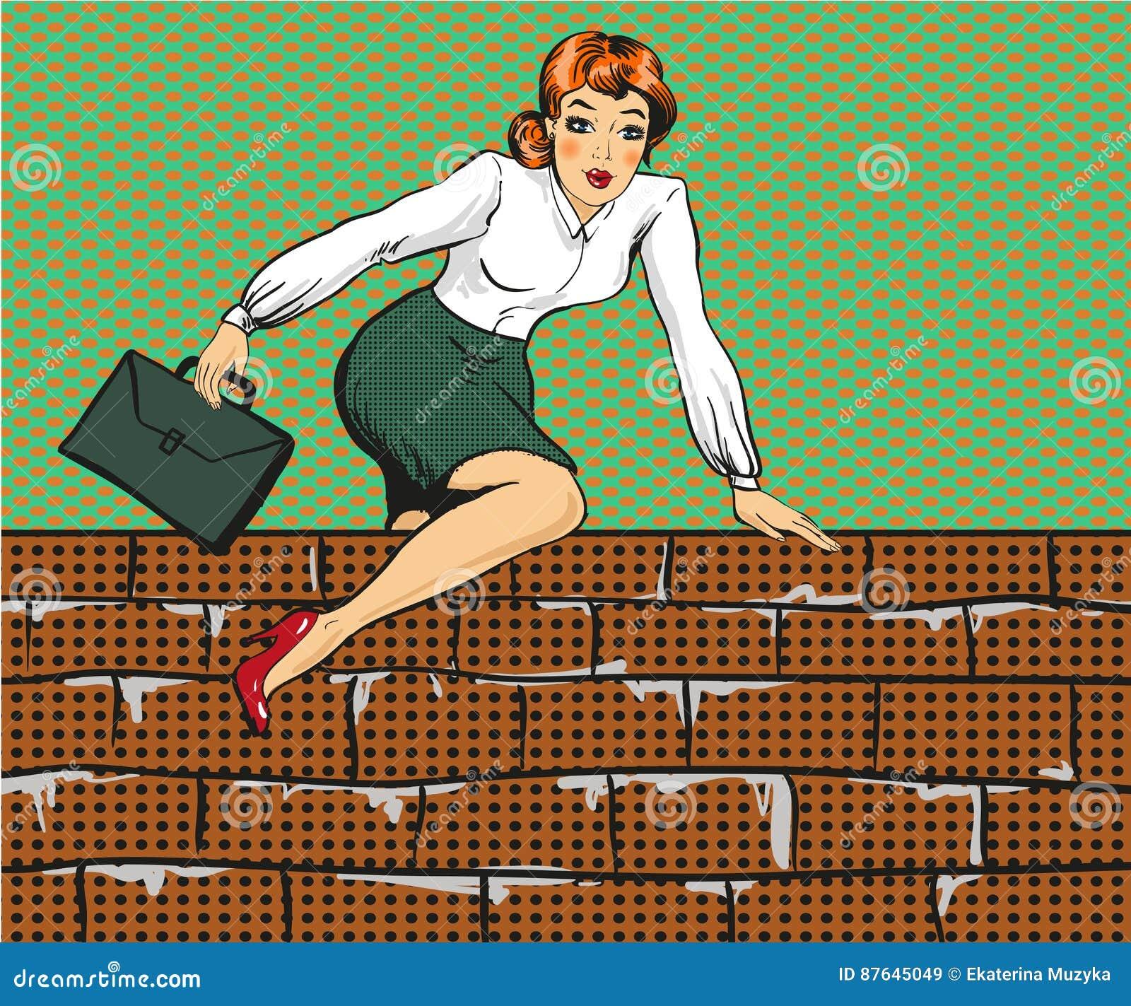 Vector иллюстрация женщины взбираясь над загородкой, стилем искусства шипучки