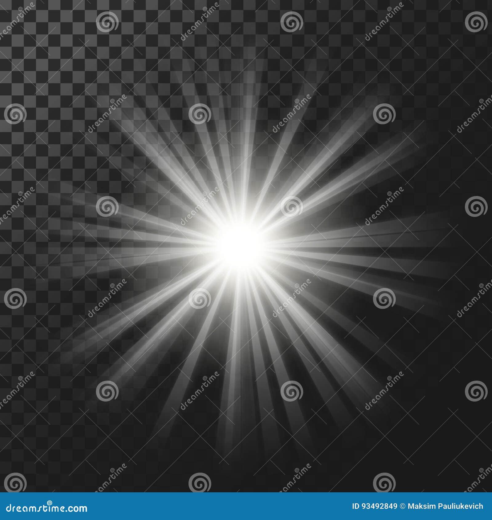 Vector иллюстрация светового эффекта белизны накаляя с лучами
