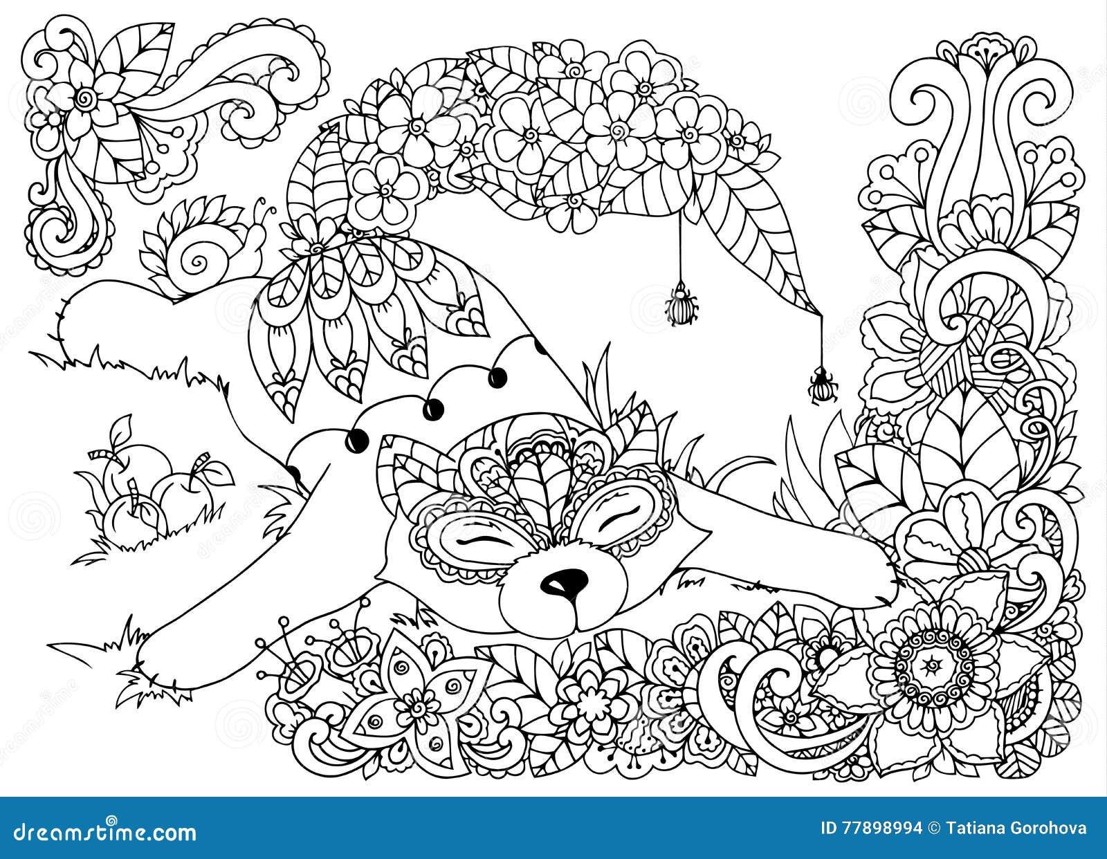 Vector иллюстрация, Fox, в цветках Грибы чертежа Doodle ...