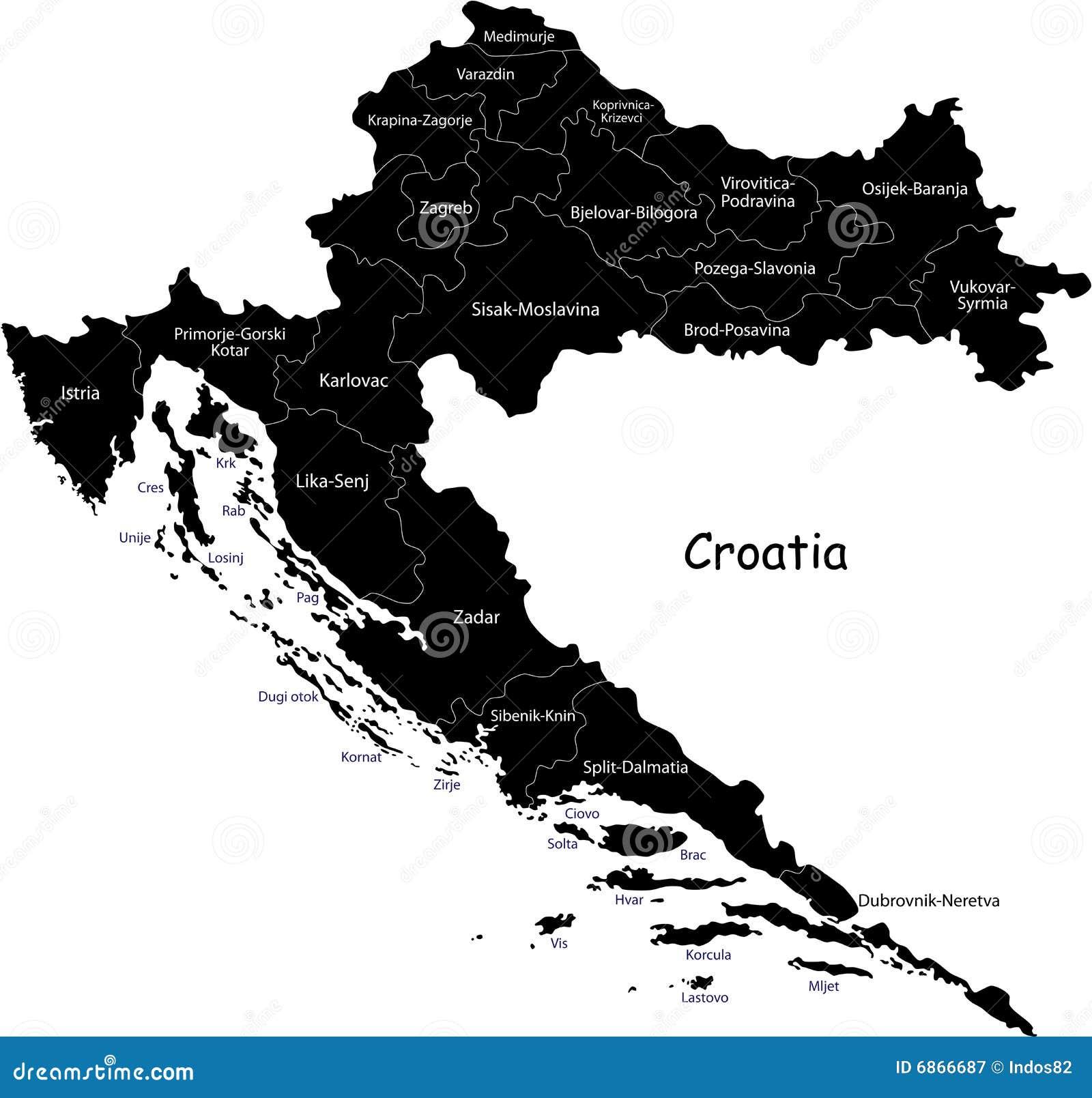 Vector карта Хорватии