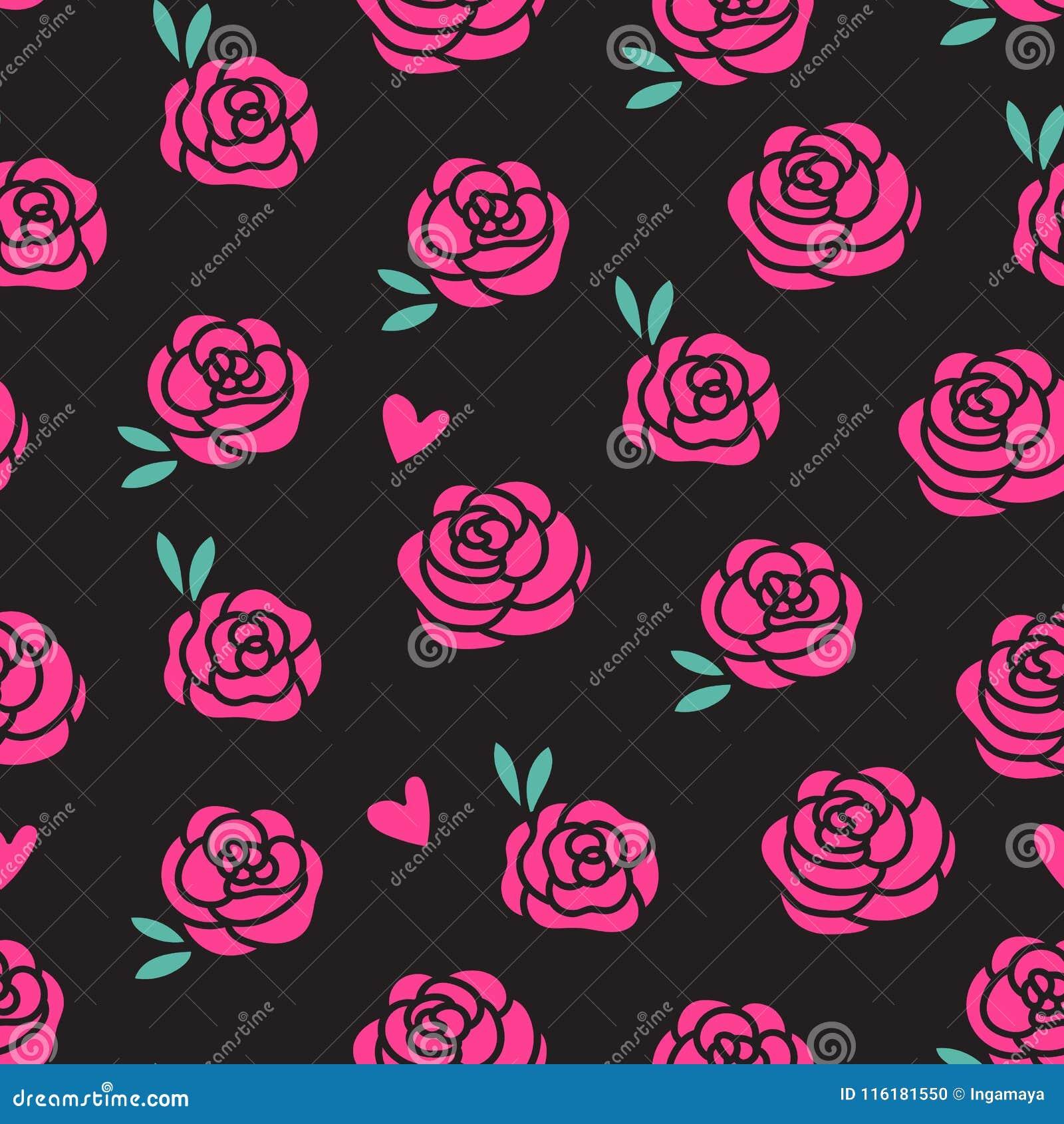 Vector картина розовых роз безшовная изолированная на черной предпосылке