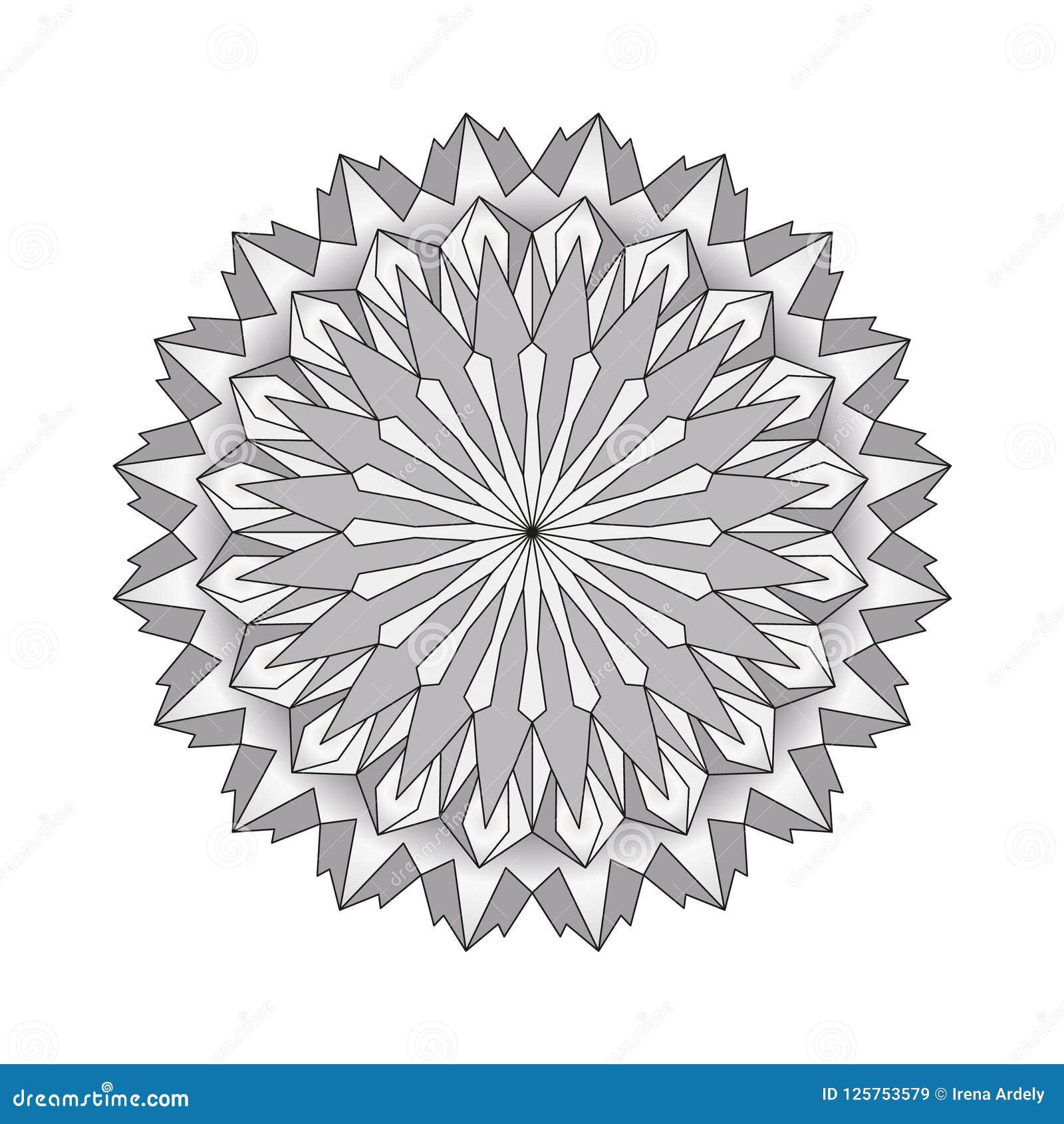 Vector мандала серой шкалы круглая простая взрослая