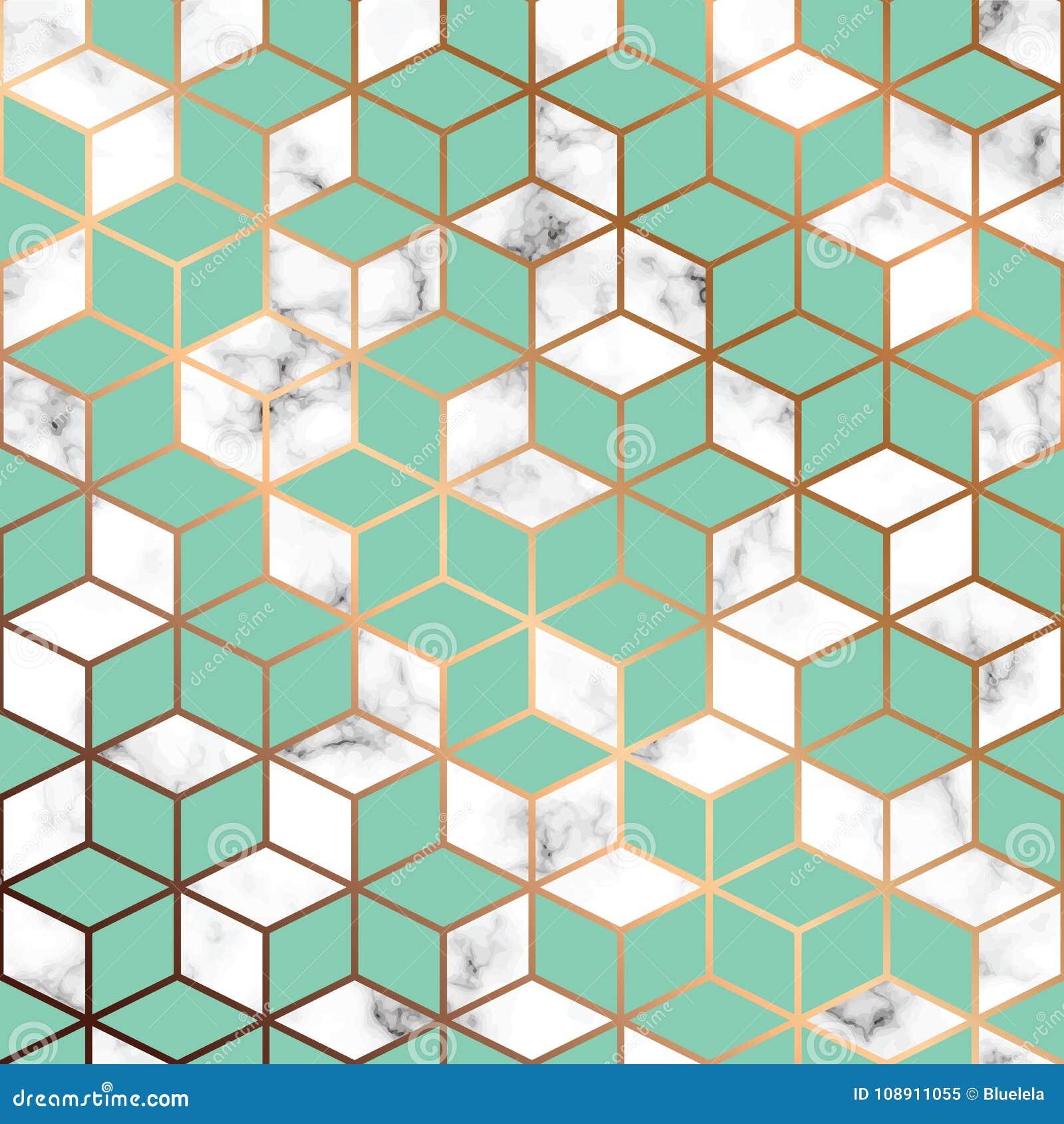 Vector мраморная текстура, безшовный дизайн картины с золотыми геометрическими линиями и кубы, черно-белая мраморизуя поверхность