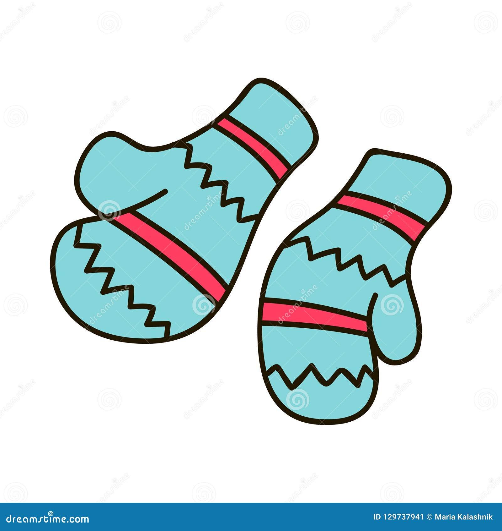Vector пары иллюстрации связанных mittens рождества на зеленой предпосылке Значок Mitten Поздравительная открытка рождества с mit