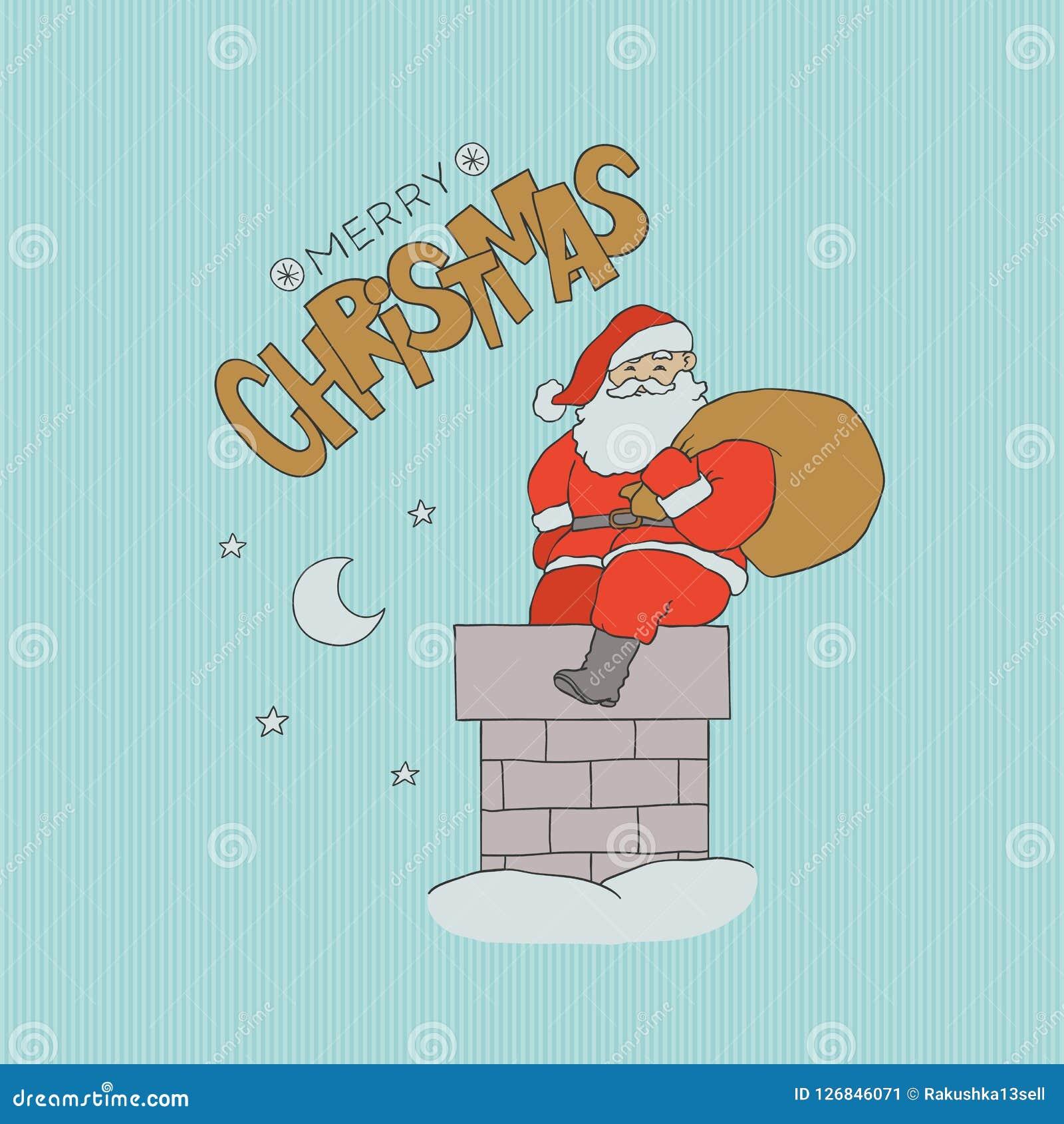 Vector печная труба Санта Клауса карточки сидя с подарками сумки Ноча праздника рождества с луной и звездами в небе Золото