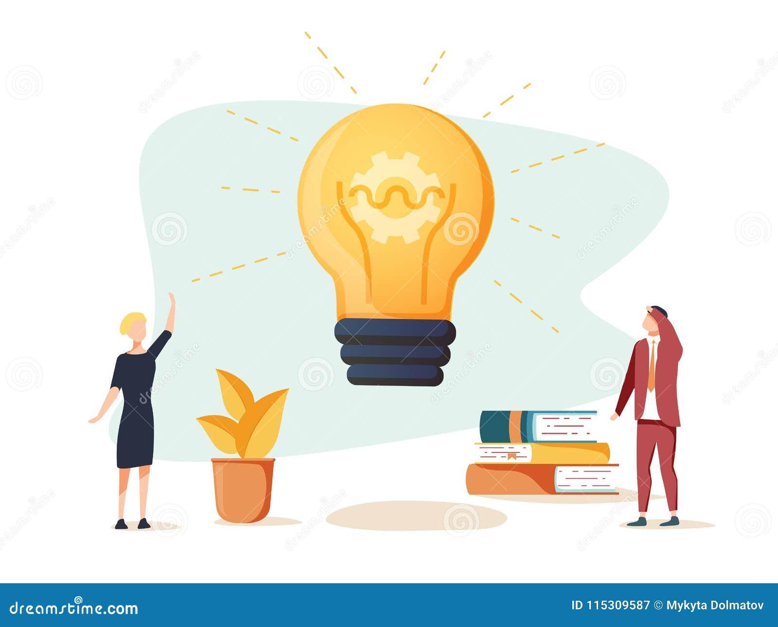 Vector плоские иллюстрация, деловая встреча и метод мозгового штурма, концепция дела для сыгранности, ища