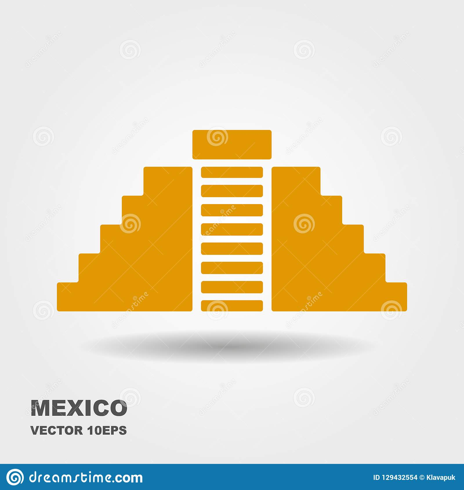 Vector плоский значок Chichen Itza, Мексики белизна изолированная предпосылкой
