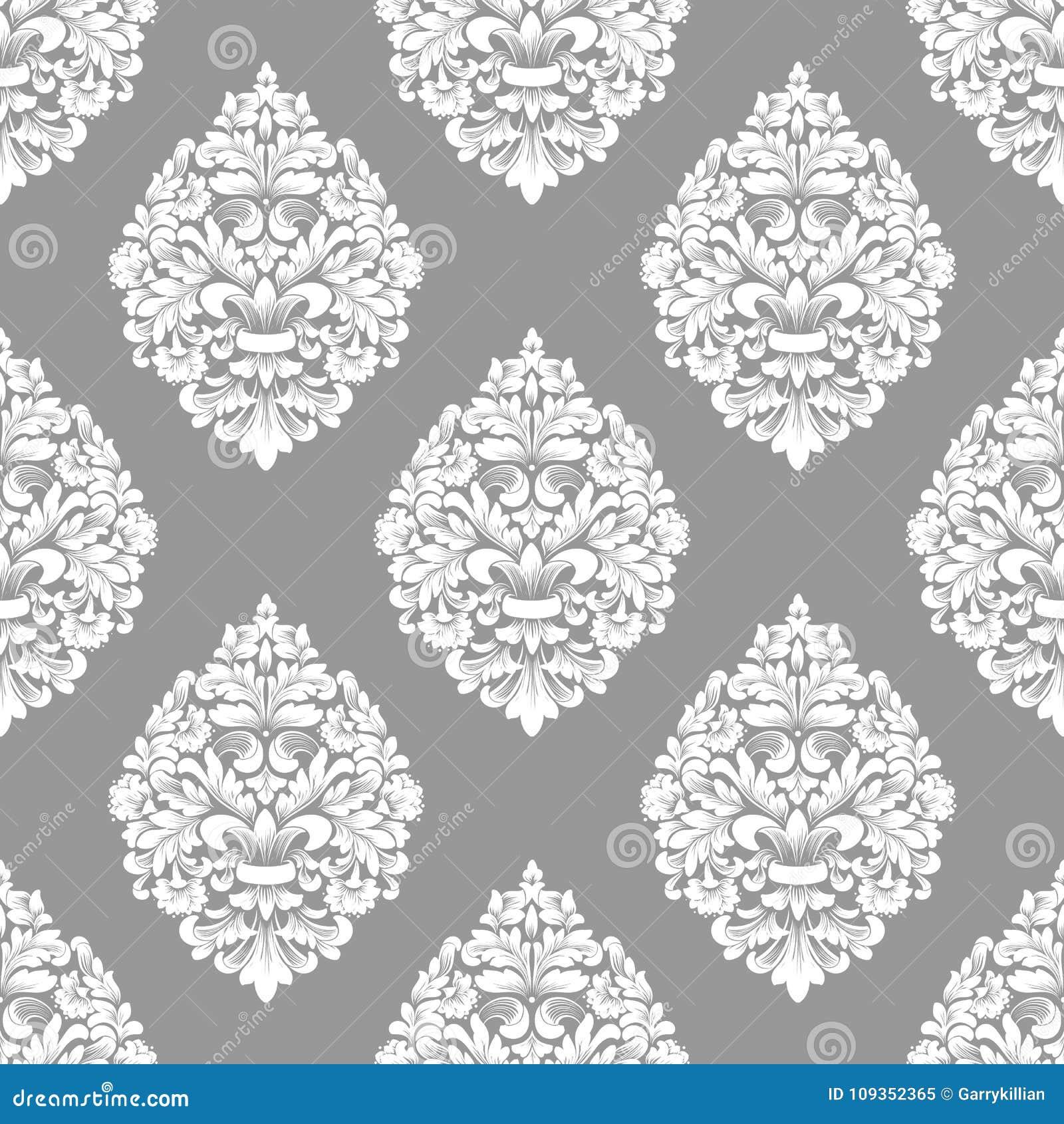 Vector предпосылка картины штофа безшовная Классический роскошный старомодный орнамент штофа, королевское викторианское безшовное