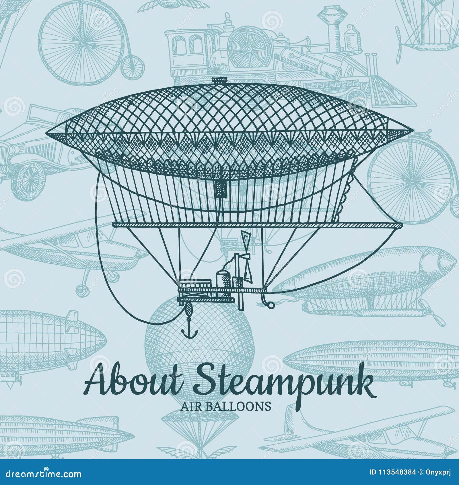 Vector предпосылка с дирижаблями steampunk, baloons воздуха, велосипедами и автомобилями нарисованными рукой с местом для текста