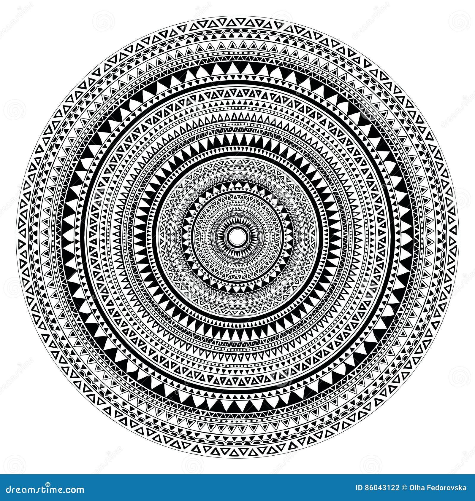 Vector племенная фольклорная ацтекская геометрическая картина в круге