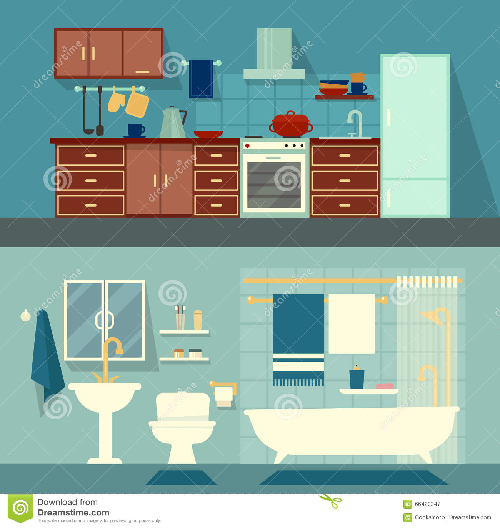 Vector плоская иллюстрация для комнат квартиры, дома Домашняя кухня дизайна интерьера и украшение ванны современное с