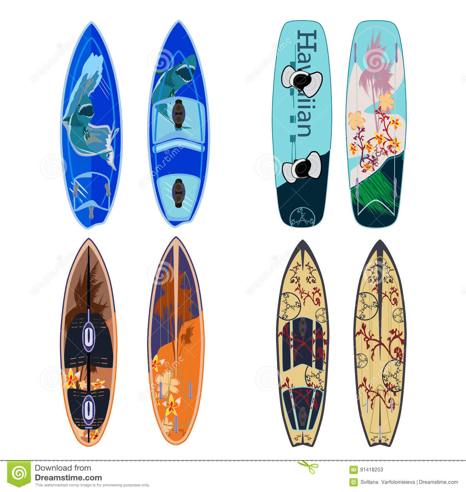 Vector плоский комплект доск серфинга в плоском стиле